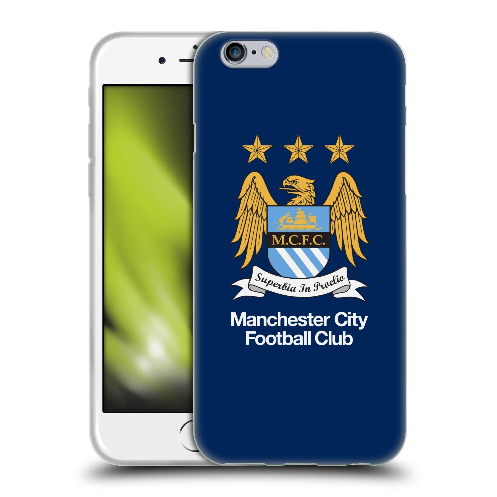 HEAD CASE silikonový obal na mobil Apple Iphone 6/6S Fotbalový klub Manchester City modré pozadí velký znak