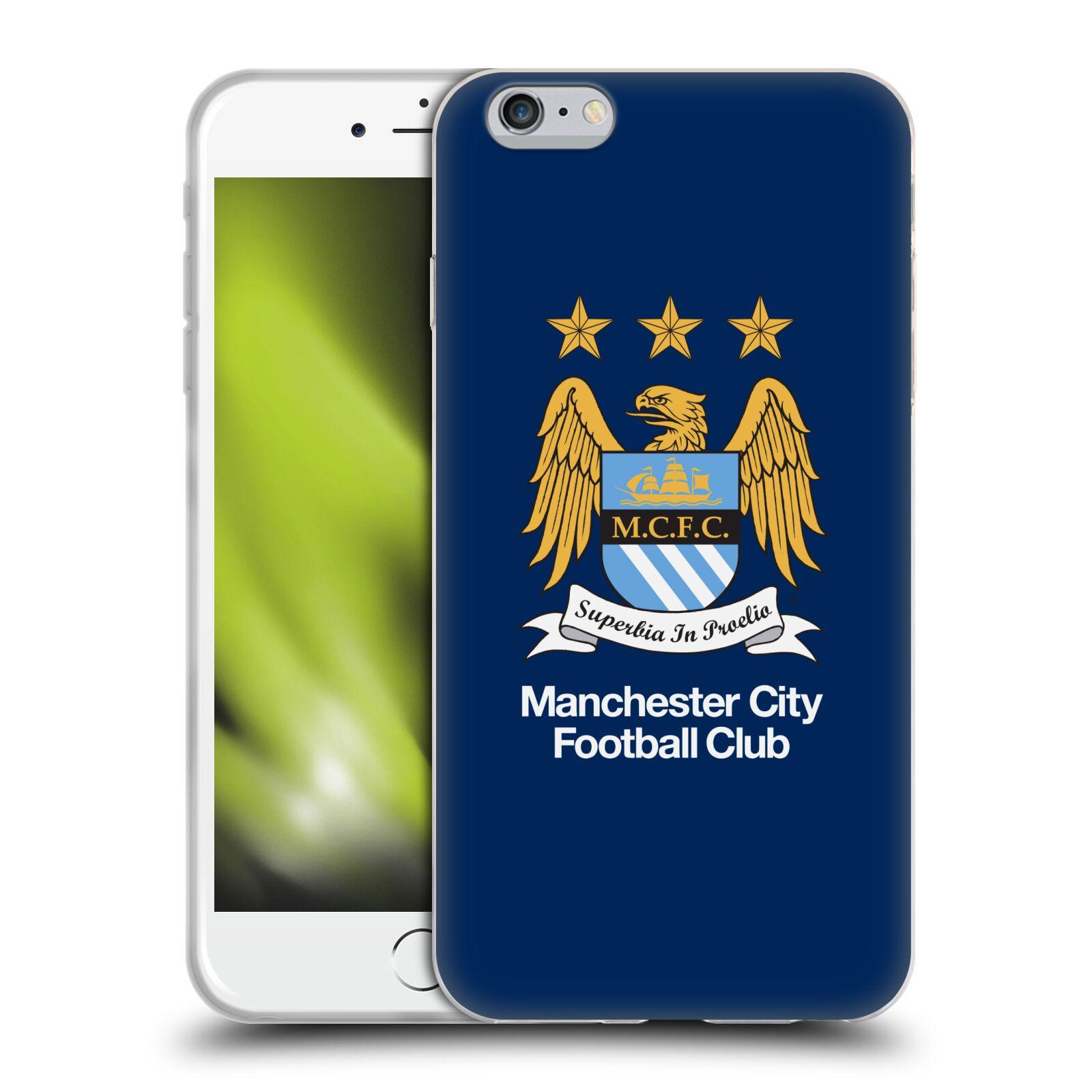 HEAD CASE silikonový obal na mobil Apple Iphone 6/6S PLUS Fotbalový klub Manchester City modré pozadí velký znak