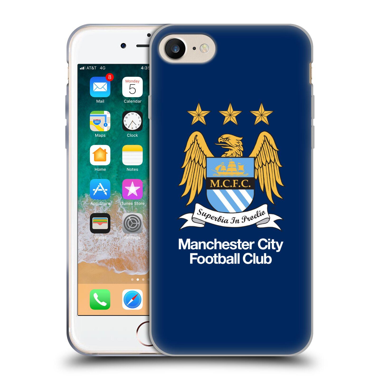 HEAD CASE silikonový obal na mobil Apple Iphone 8 Fotbalový klub Manchester City modré pozadí velký znak