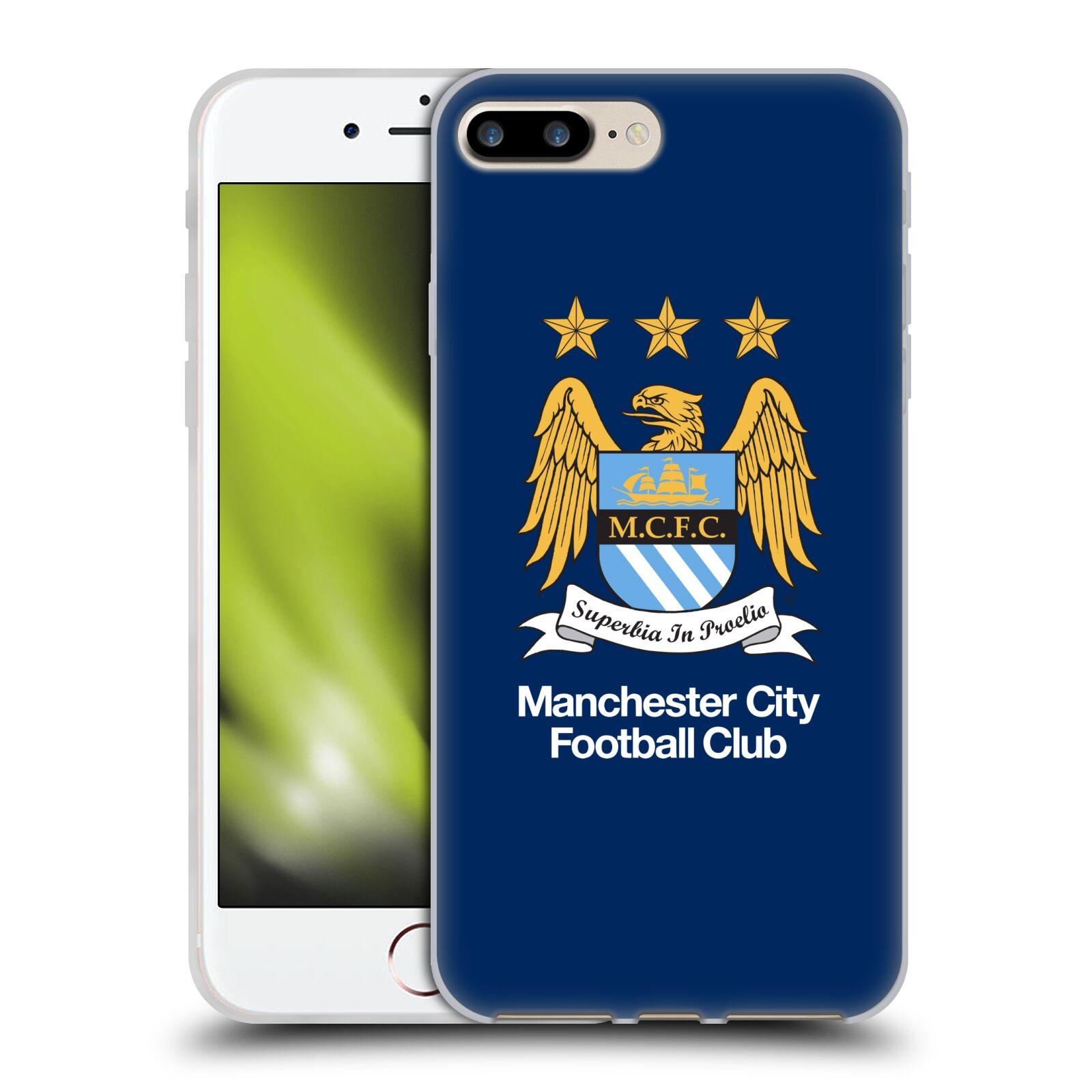 HEAD CASE silikonový obal na mobil Apple Iphone 7 PLUS Fotbalový klub Manchester City modré pozadí velký znak