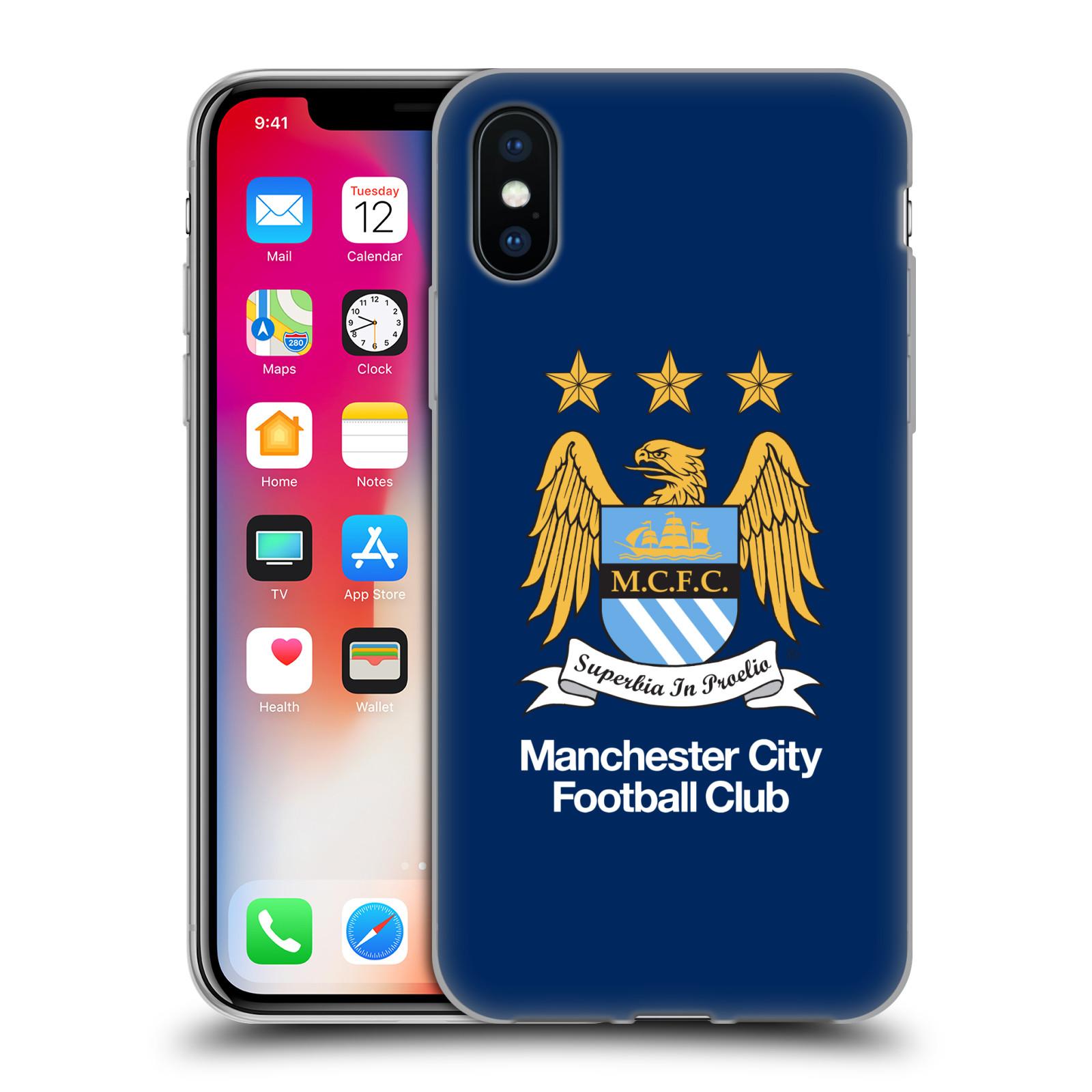 HEAD CASE silikonový obal na mobil Apple Iphone X Fotbalový klub Manchester City modré pozadí velký znak