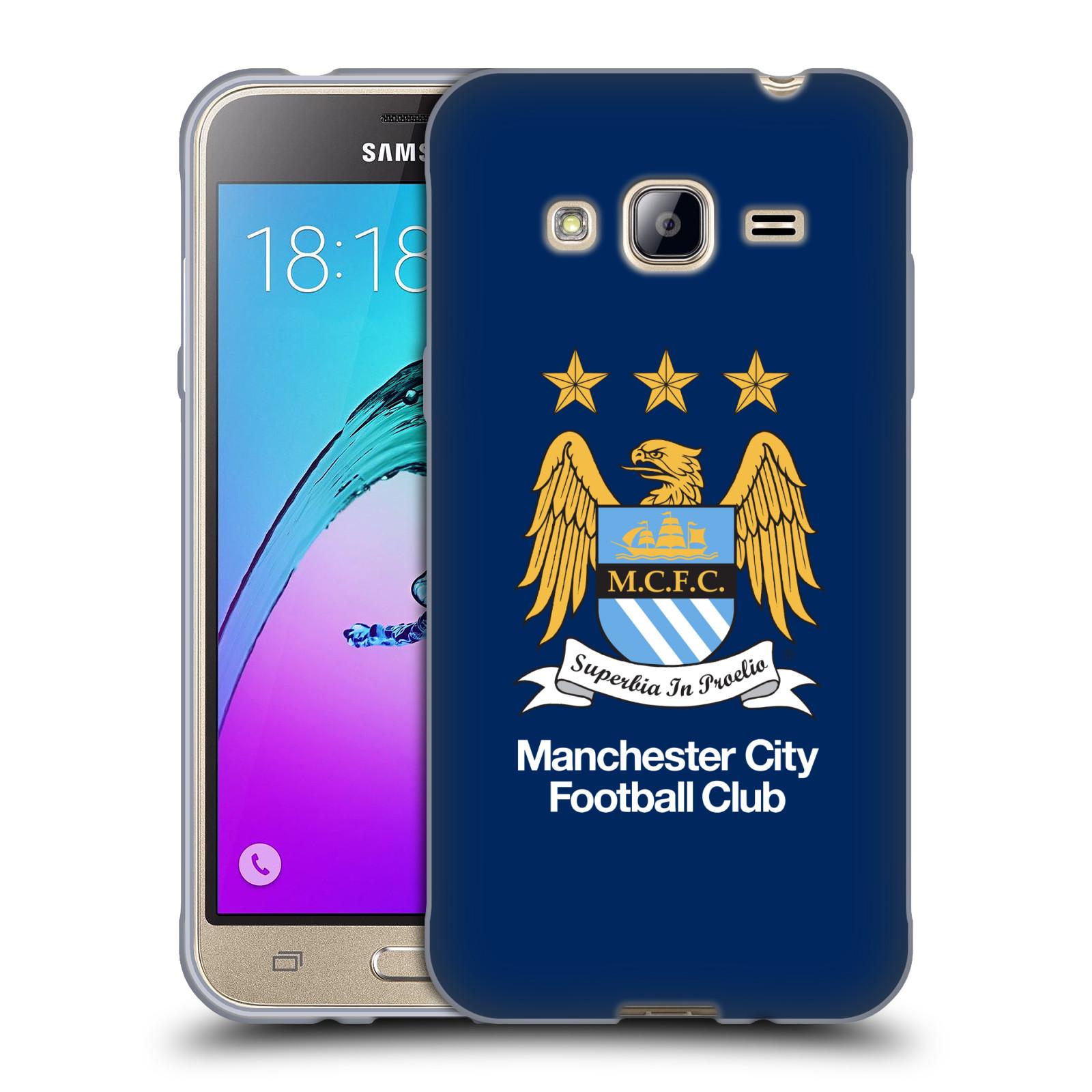 HEAD CASE silikonový obal na mobil Samsung Galaxy J3, J3 2016 Fotbalový klub Manchester City modré pozadí velký znak