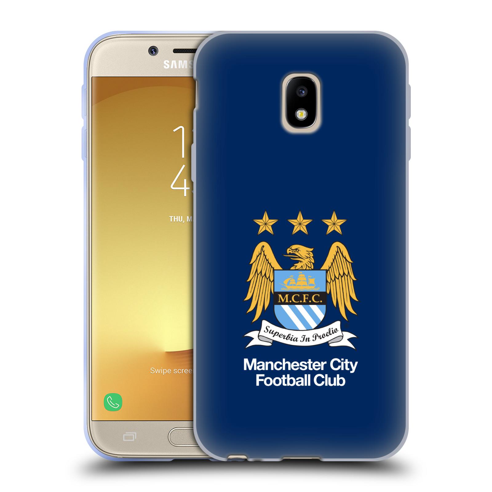 HEAD CASE silikonový obal na mobil Samsung Galaxy J3 2017 (J330, J330F) Fotbalový klub Manchester City modré pozadí velký znak
