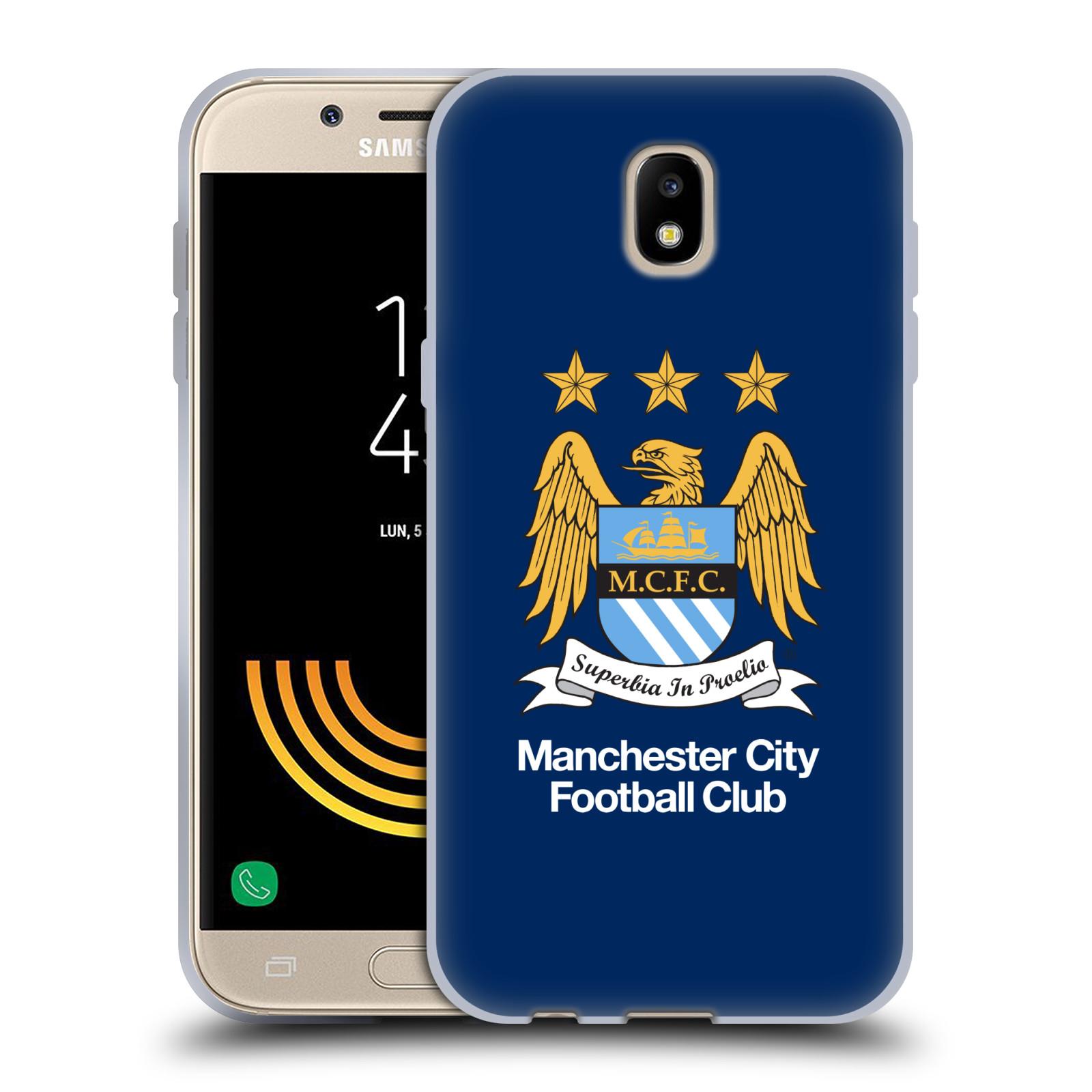 HEAD CASE silikonový obal na mobil Samsung Galaxy J5 2017 Fotbalový klub Manchester City modré pozadí velký znak
