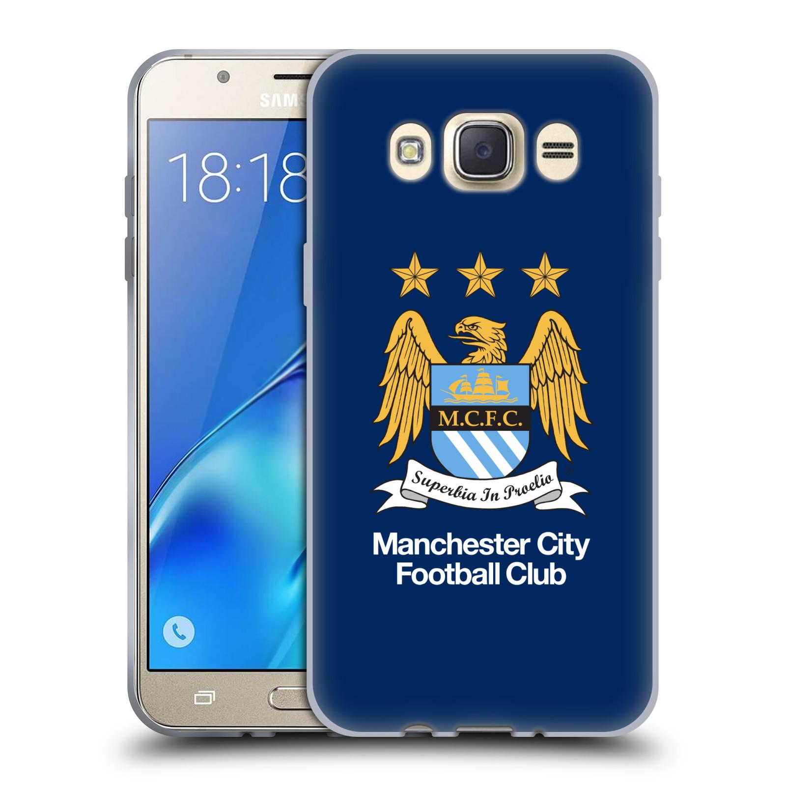 HEAD CASE silikonový obal na mobil Samsung Galaxy J7 2016 Fotbalový klub Manchester City modré pozadí velký znak