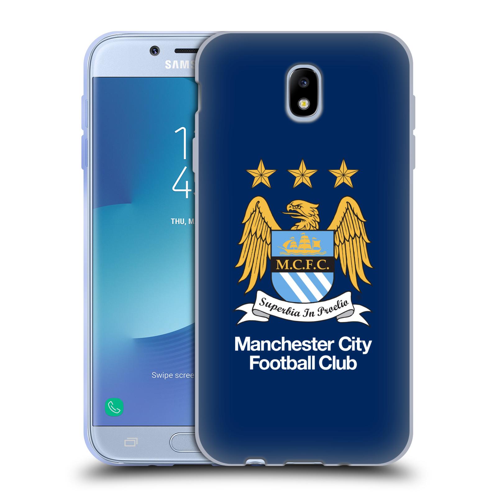 HEAD CASE silikonový obal na mobil Samsung Galaxy J7 2017 Fotbalový klub Manchester City modré pozadí velký znak