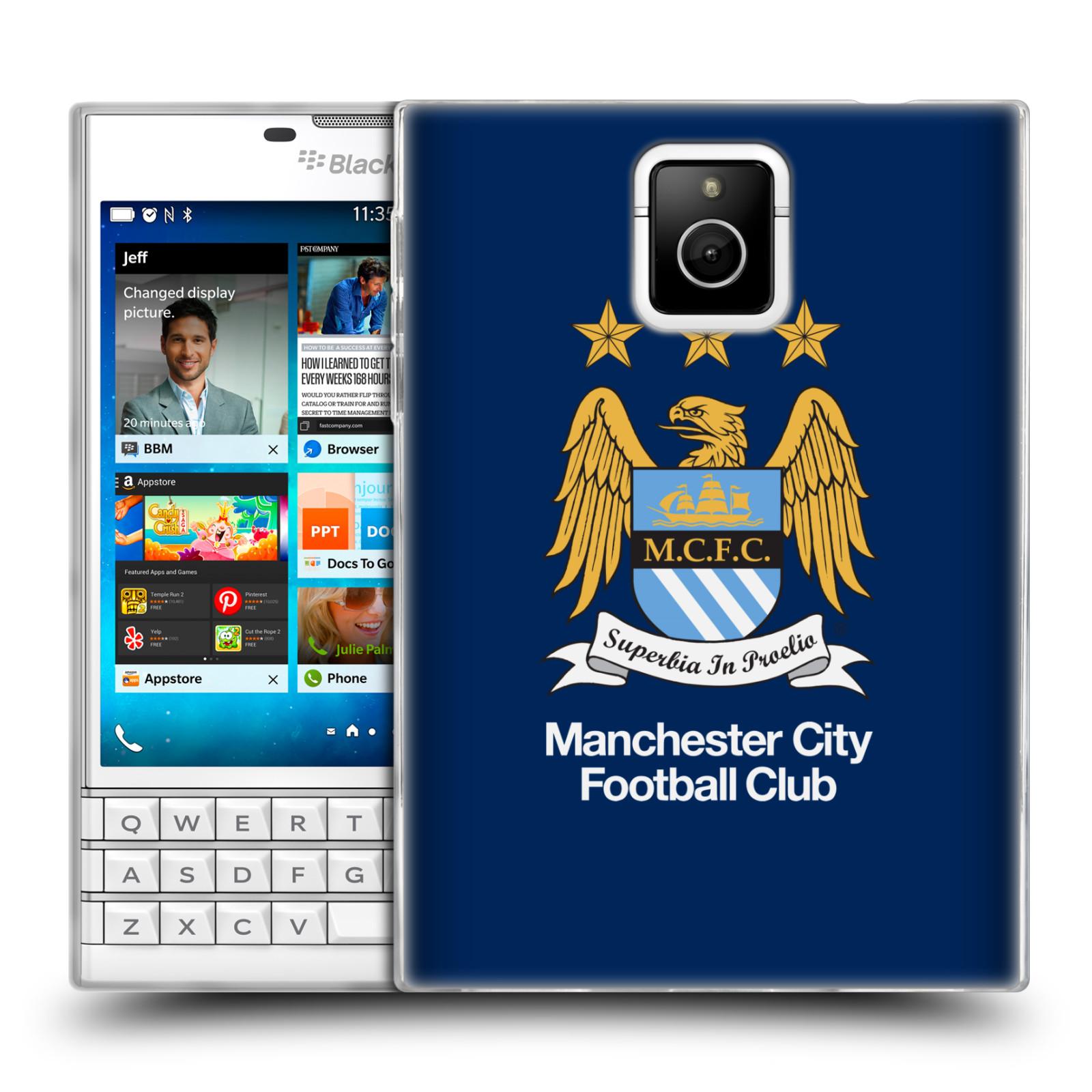 HEAD CASE silikonový obal na mobil Blackberry PASSPORT Fotbalový klub Manchester City modré pozadí velký znak