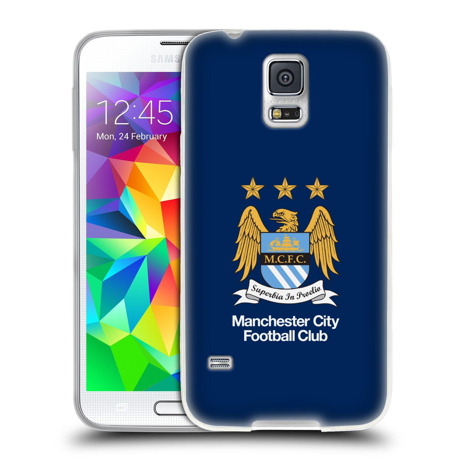 HEAD CASE silikonový obal na mobil Samsung Galaxy S5 Fotbalový klub Manchester City modré pozadí velký znak