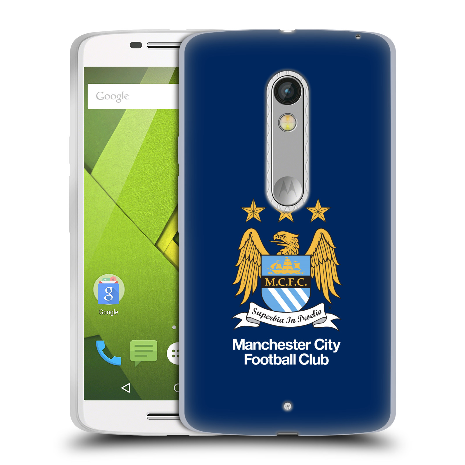 HEAD CASE silikonový obal na mobil Lenovo Moto X PLAY Fotbalový klub Manchester City modré pozadí velký znak