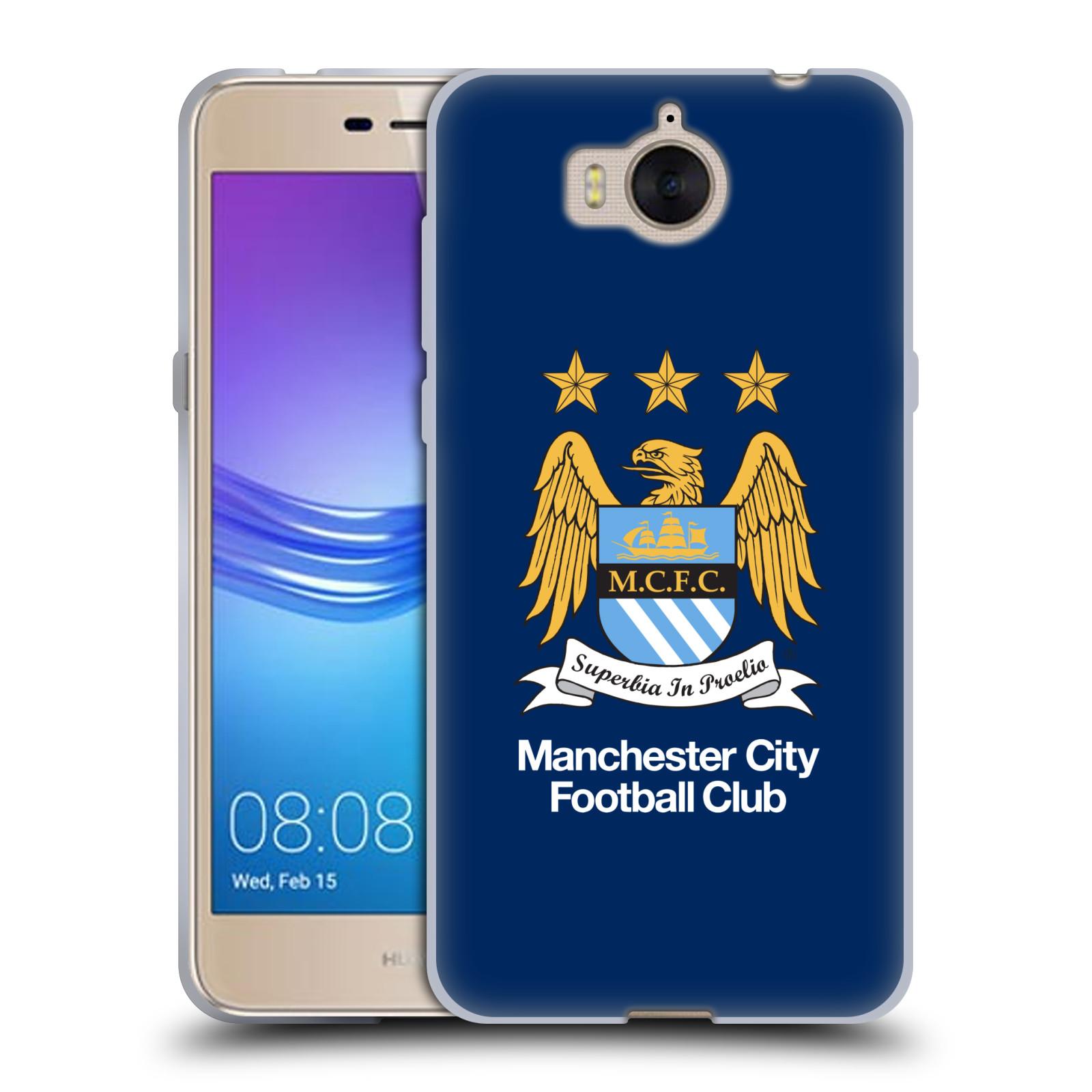 HEAD CASE silikonový obal na mobil Huawei Y5 2017 Fotbalový klub Manchester City modré pozadí velký znak