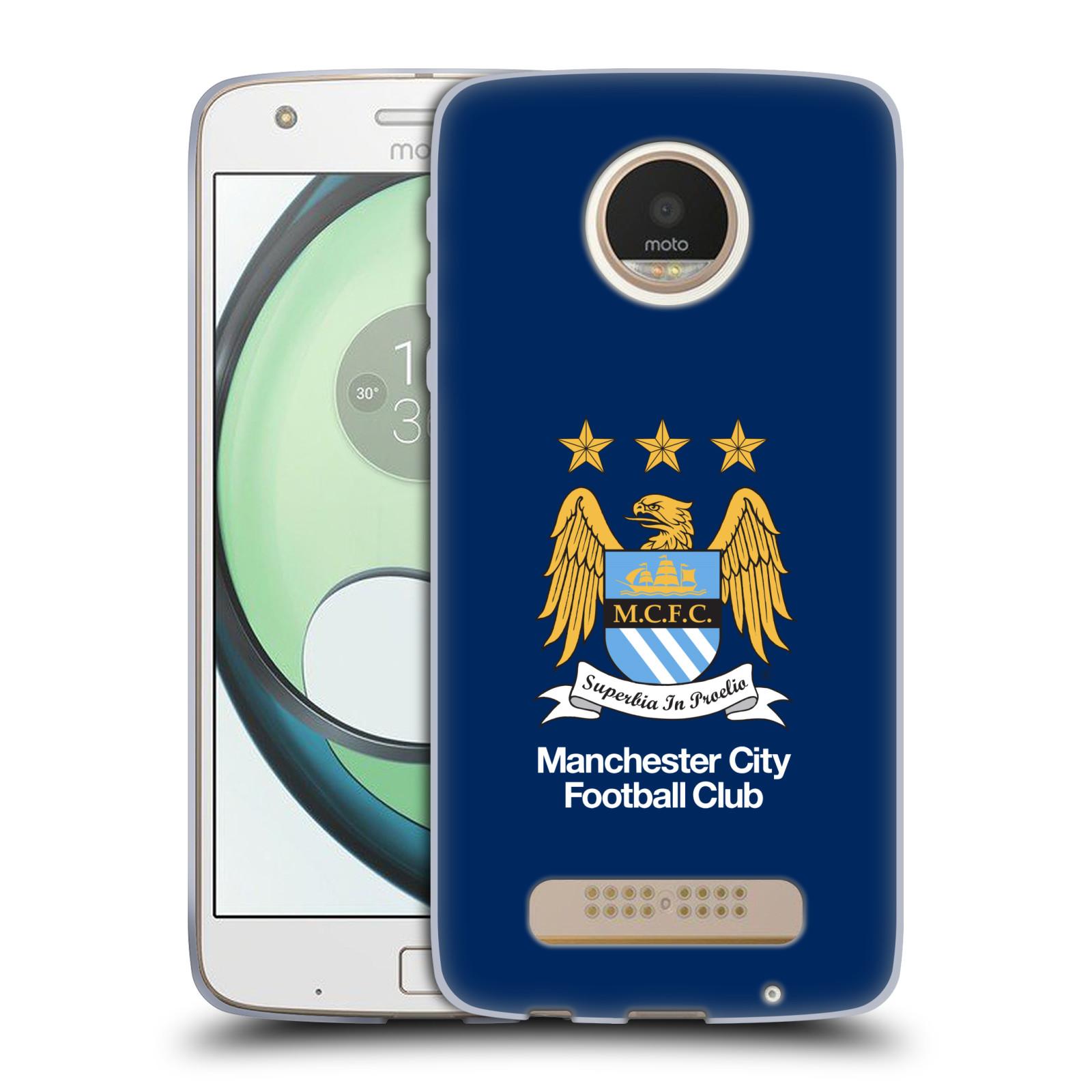 HEAD CASE silikonový obal na mobil Lenovo Moto Z PLAY Fotbalový klub Manchester City modré pozadí velký znak