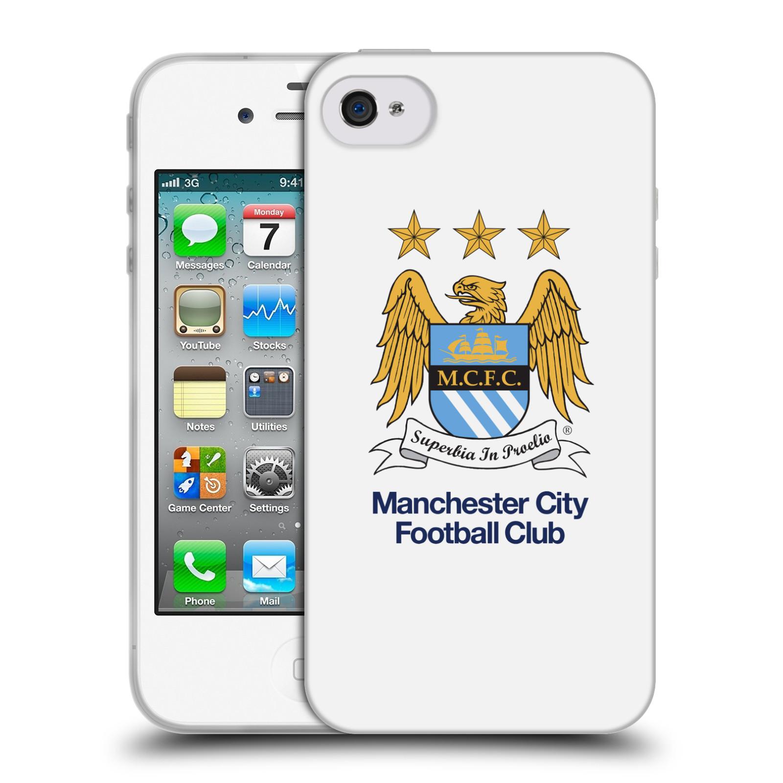 HEAD CASE silikonový obal na mobil Apple Iphone 4 Fotbalový klub Manchester City bílé pozadí velký znak pták
