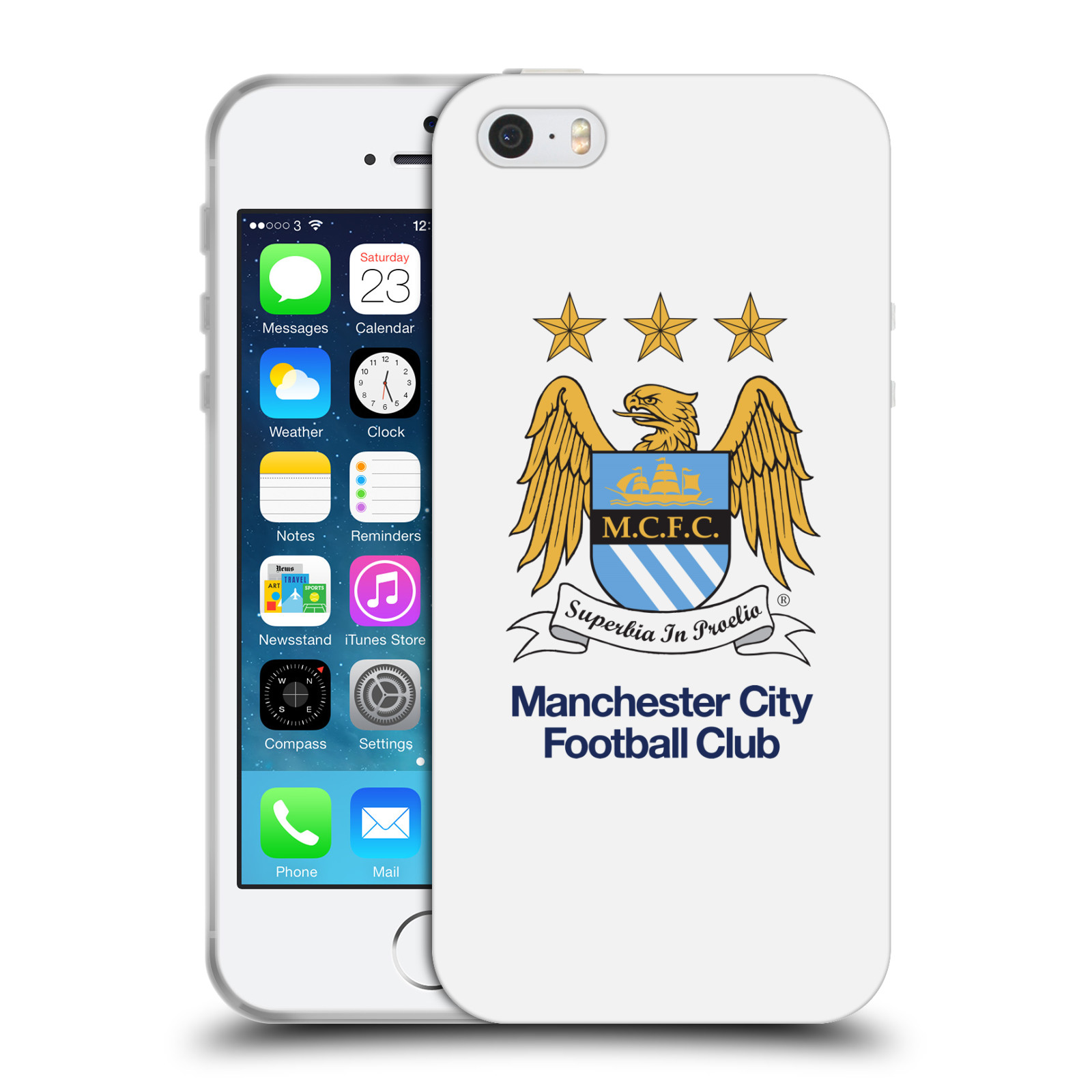 HEAD CASE silikonový obal na mobil Apple Iphone 5/5S Fotbalový klub Manchester City bílé pozadí velký znak pták