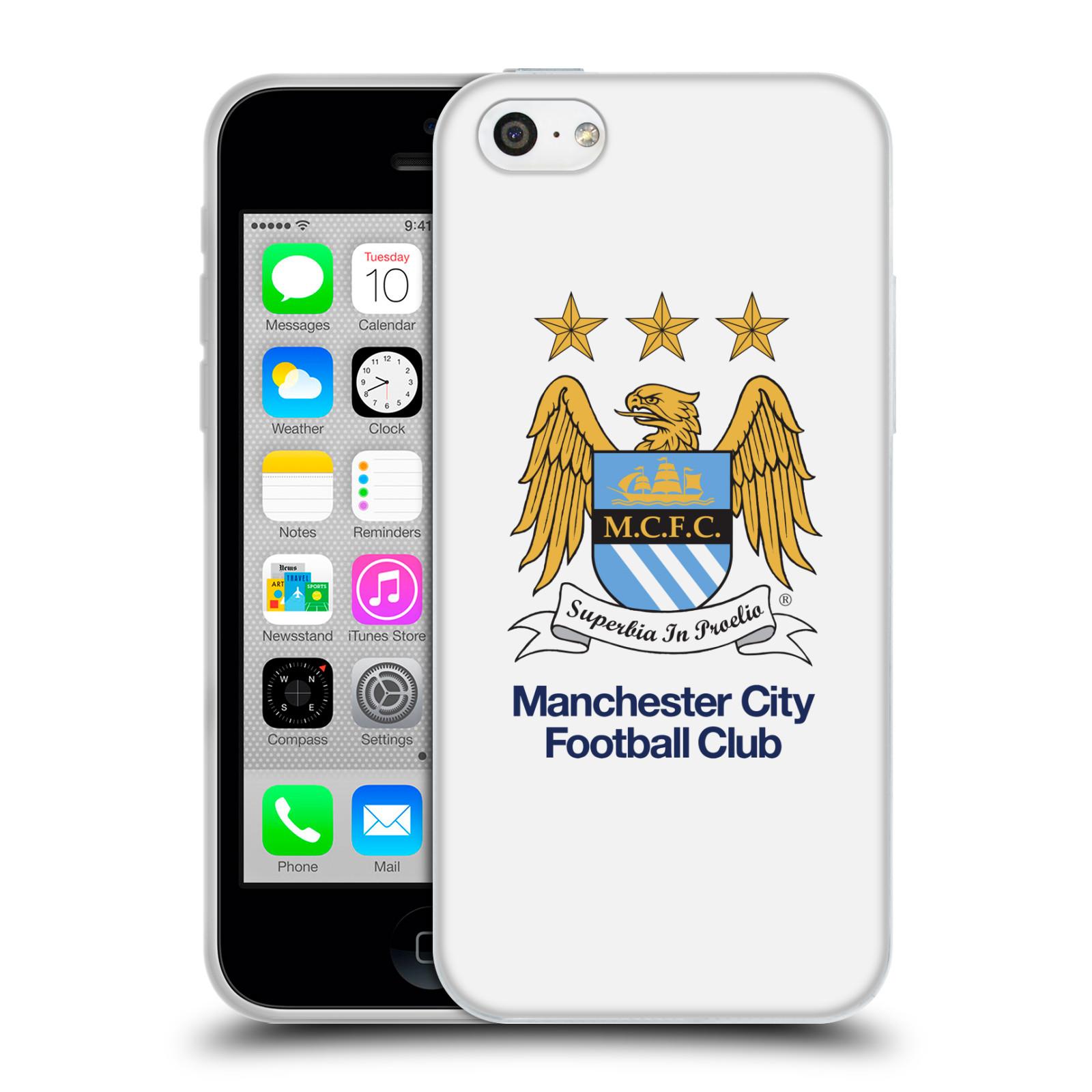 HEAD CASE silikonový obal na mobil Apple Iphone 5C Fotbalový klub Manchester City bílé pozadí velký znak pták