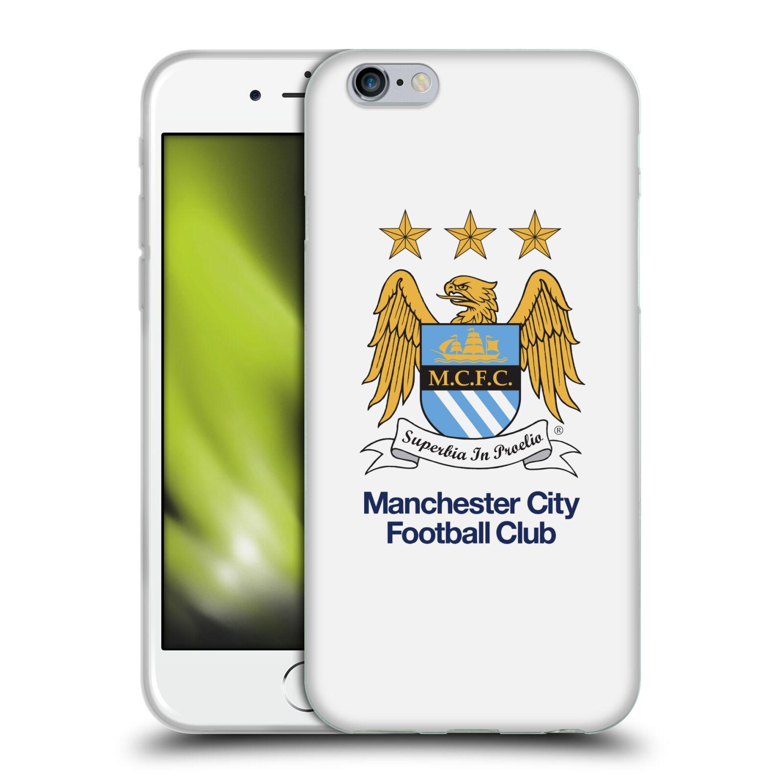 HEAD CASE silikonový obal na mobil Apple Iphone 6/6S Fotbalový klub Manchester City bílé pozadí velký znak pták