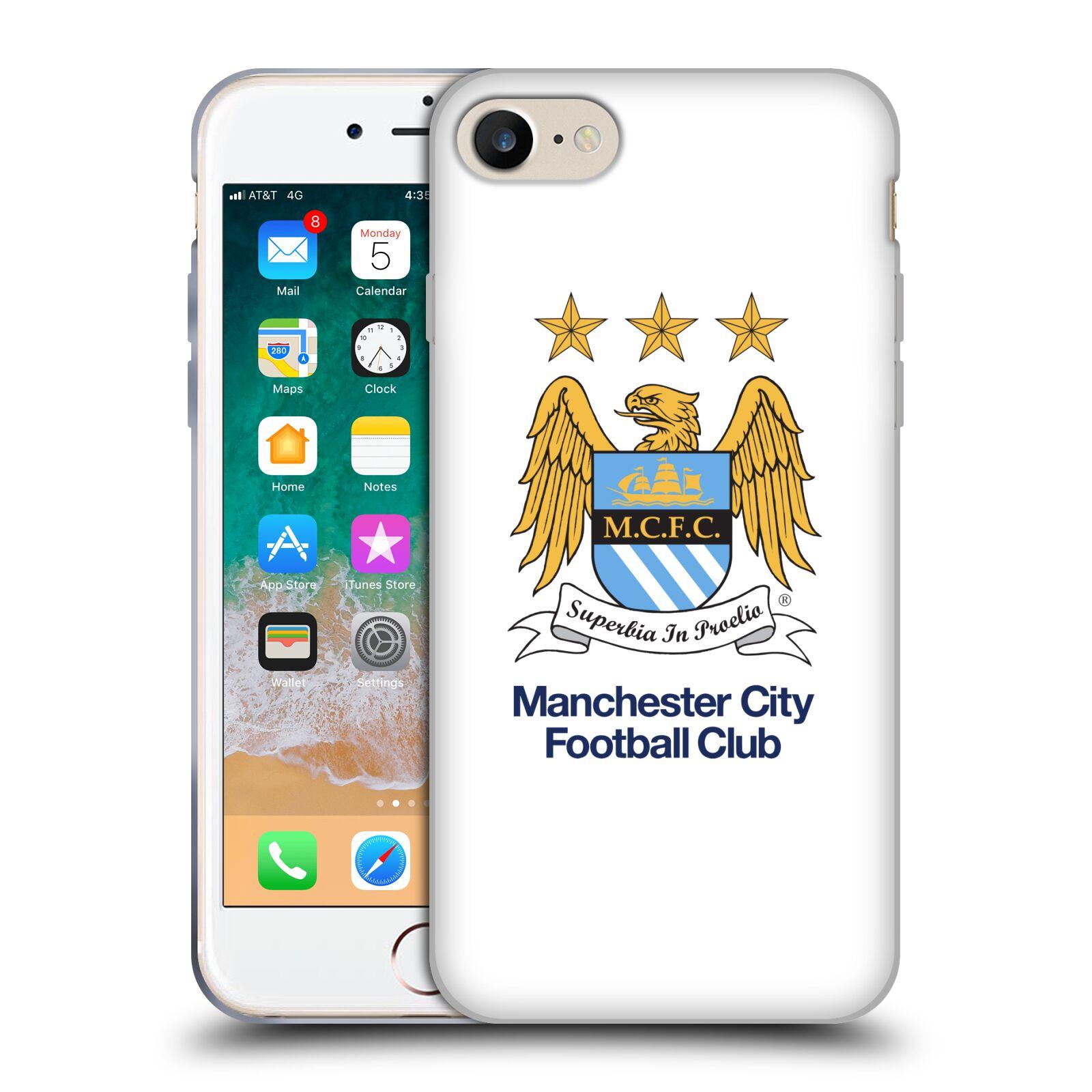 HEAD CASE silikonový obal na mobil Apple Iphone 7 Fotbalový klub Manchester City bílé pozadí velký znak pták