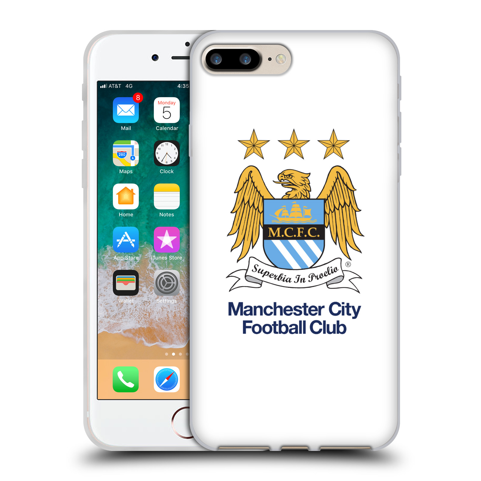 HEAD CASE silikonový obal na mobil Apple Iphone 7 PLUS Fotbalový klub Manchester City bílé pozadí velký znak pták