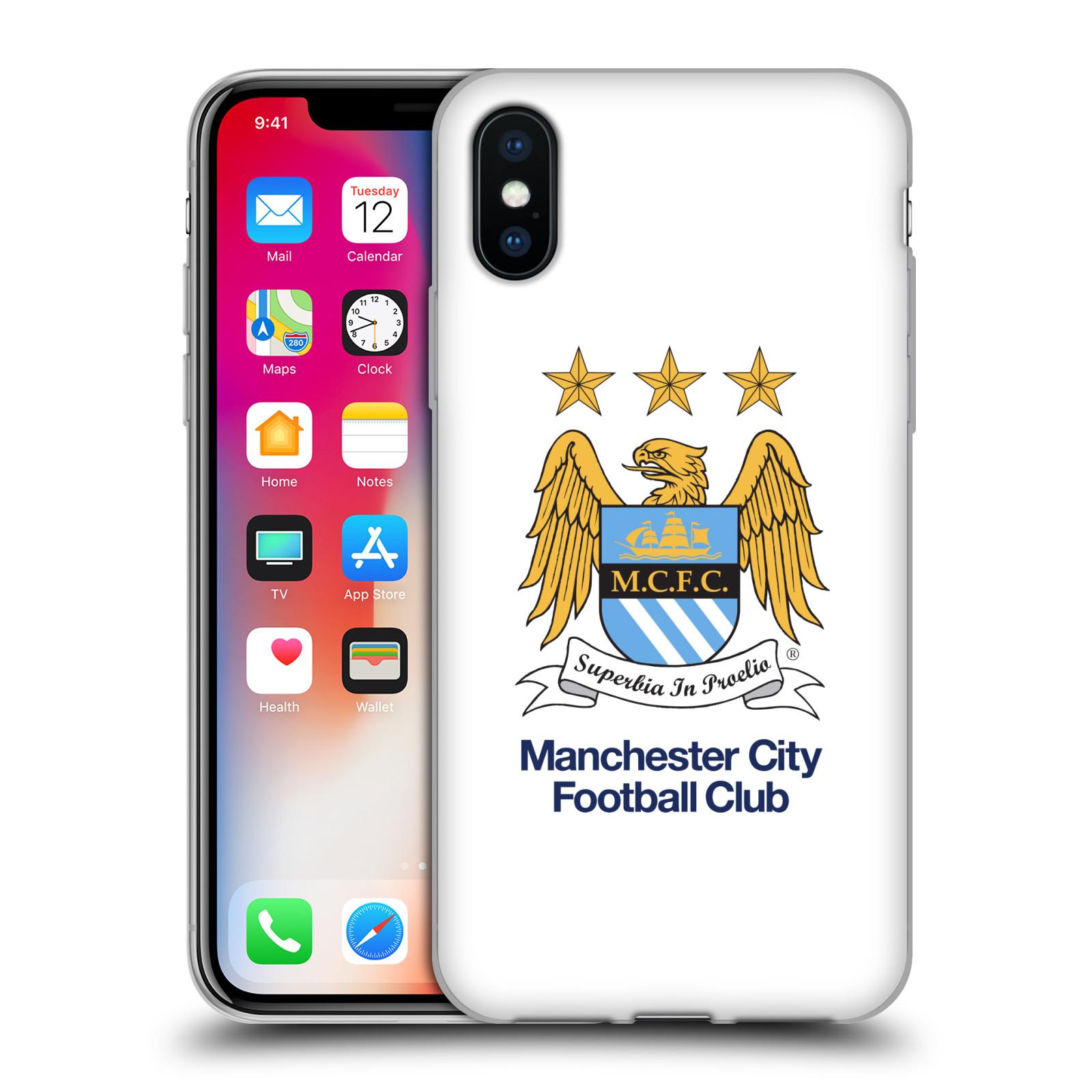 HEAD CASE silikonový obal na mobil Apple Iphone X Fotbalový klub Manchester City bílé pozadí velký znak pták