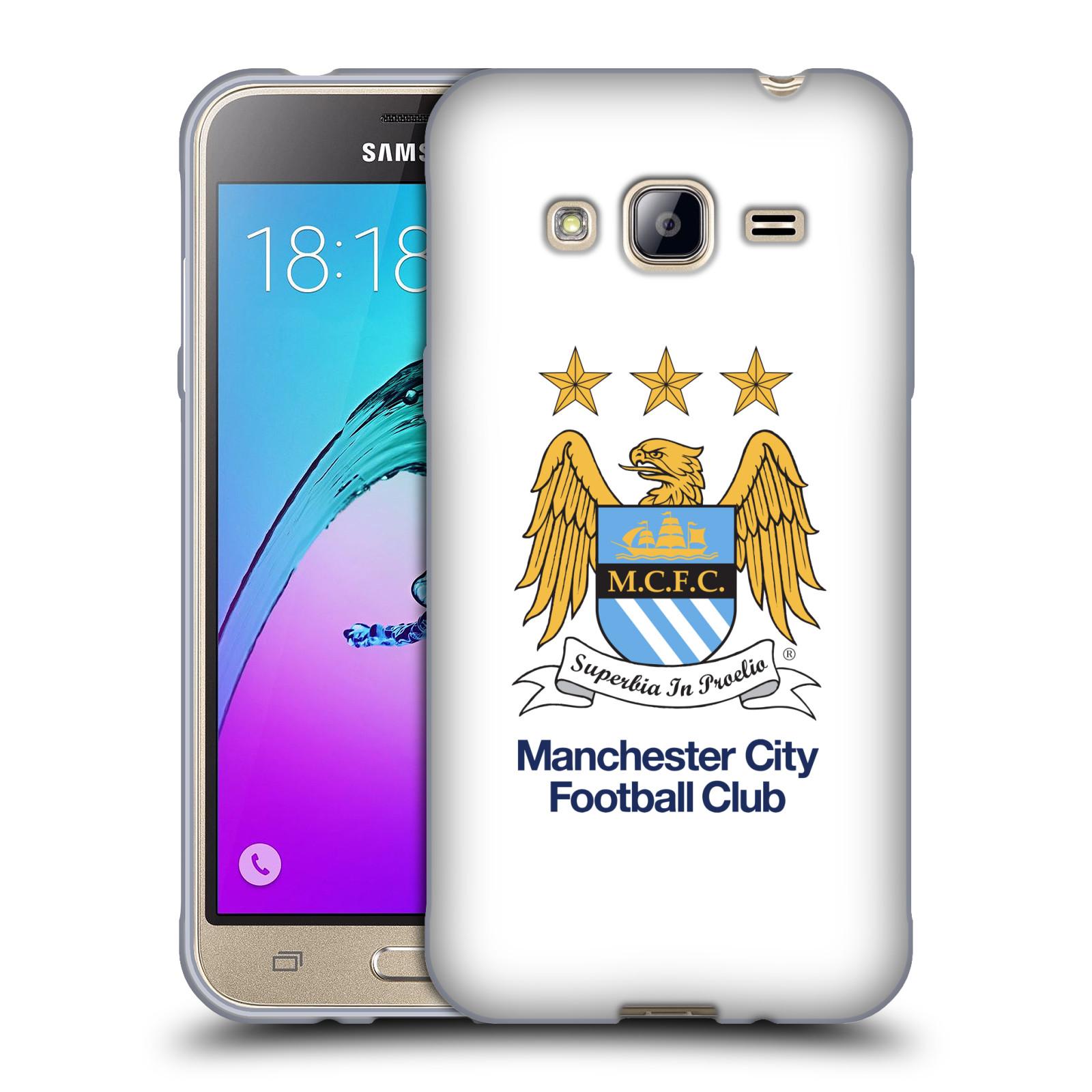 HEAD CASE silikonový obal na mobil Samsung Galaxy J3, J3 2016 Fotbalový klub Manchester City bílé pozadí velký znak pták