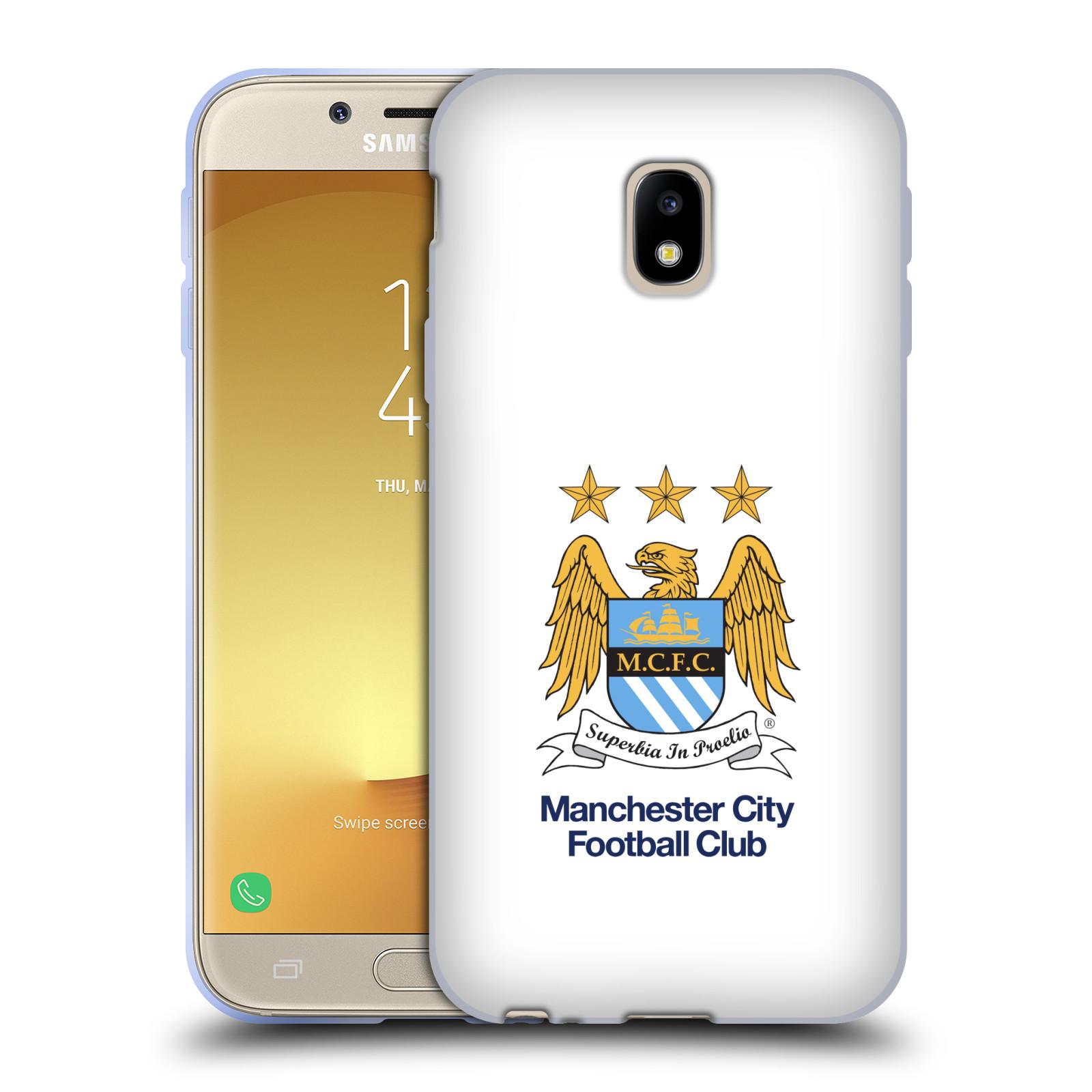 HEAD CASE silikonový obal na mobil Samsung Galaxy J3 2017 (J330, J330F) Fotbalový klub Manchester City bílé pozadí velký znak pták