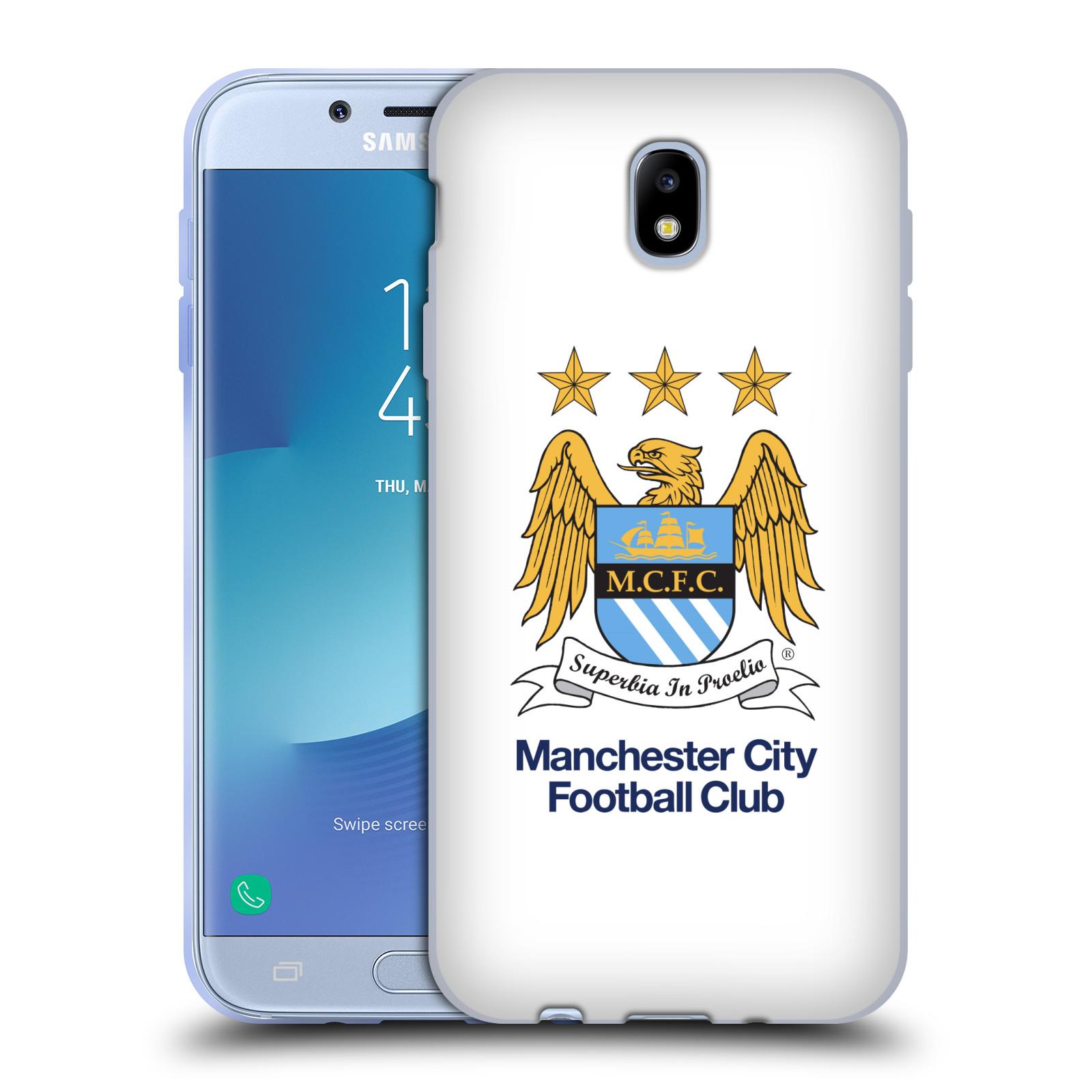 HEAD CASE silikonový obal na mobil Samsung Galaxy J7 2017 Fotbalový klub Manchester City bílé pozadí velký znak pták
