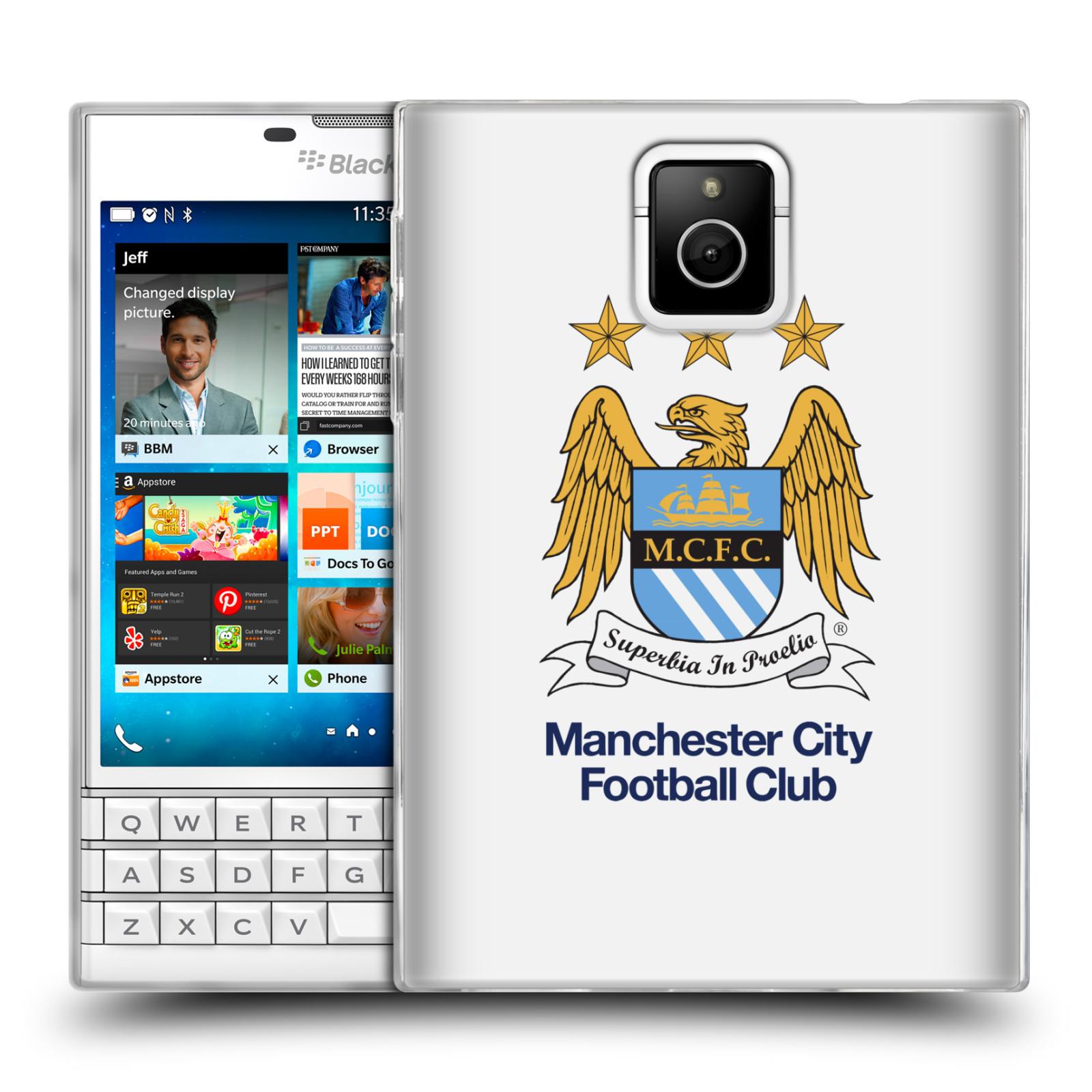 HEAD CASE silikonový obal na mobil Blackberry PASSPORT Fotbalový klub Manchester City bílé pozadí velký znak pták