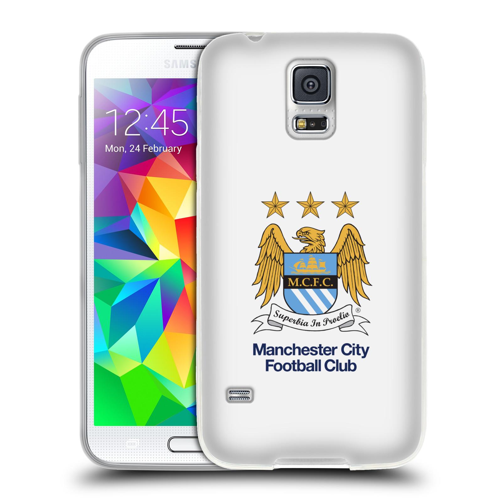 HEAD CASE silikonový obal na mobil Samsung Galaxy S5 Fotbalový klub Manchester City bílé pozadí velký znak pták