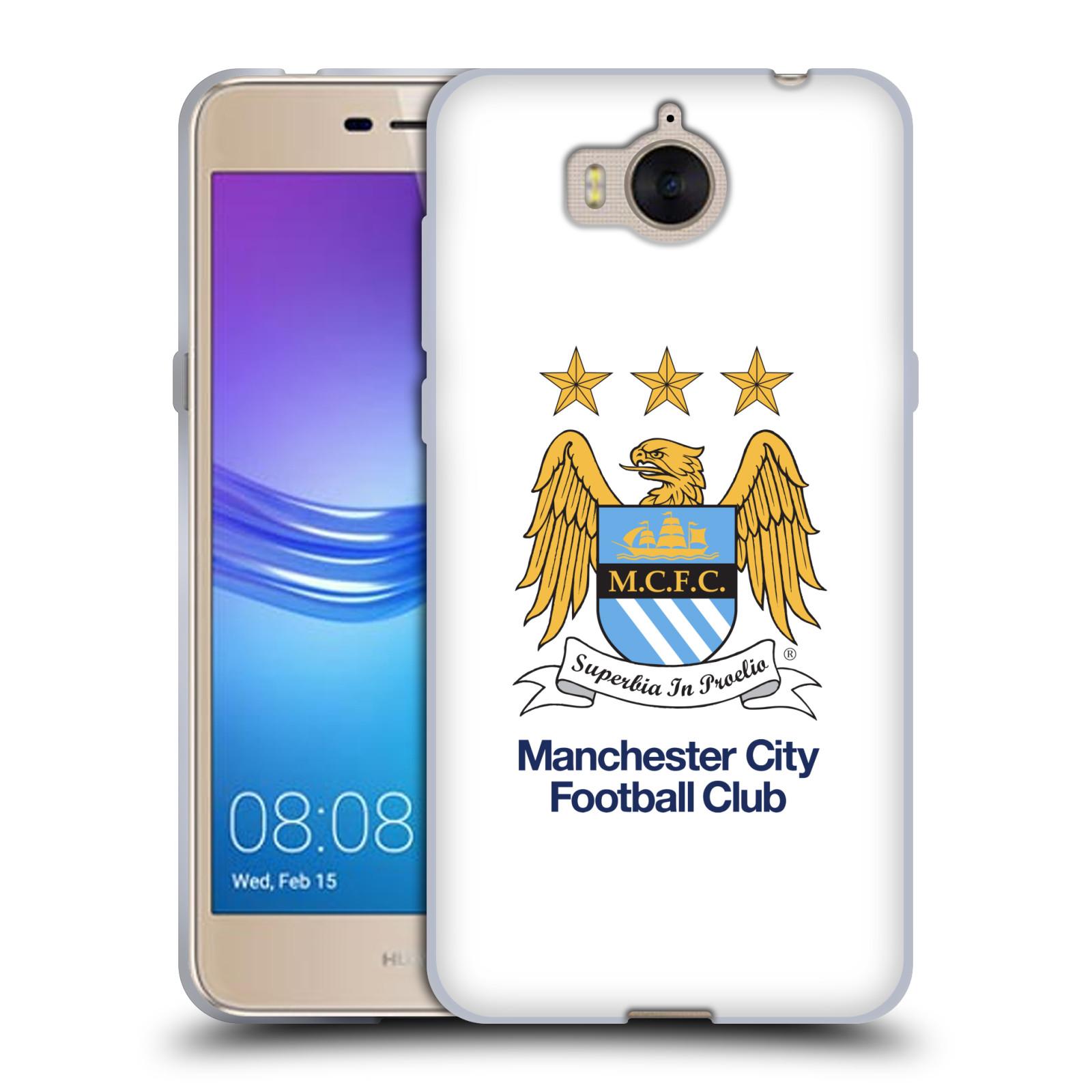 HEAD CASE silikonový obal na mobil Huawei Y5 2017 Fotbalový klub Manchester City bílé pozadí velký znak pták