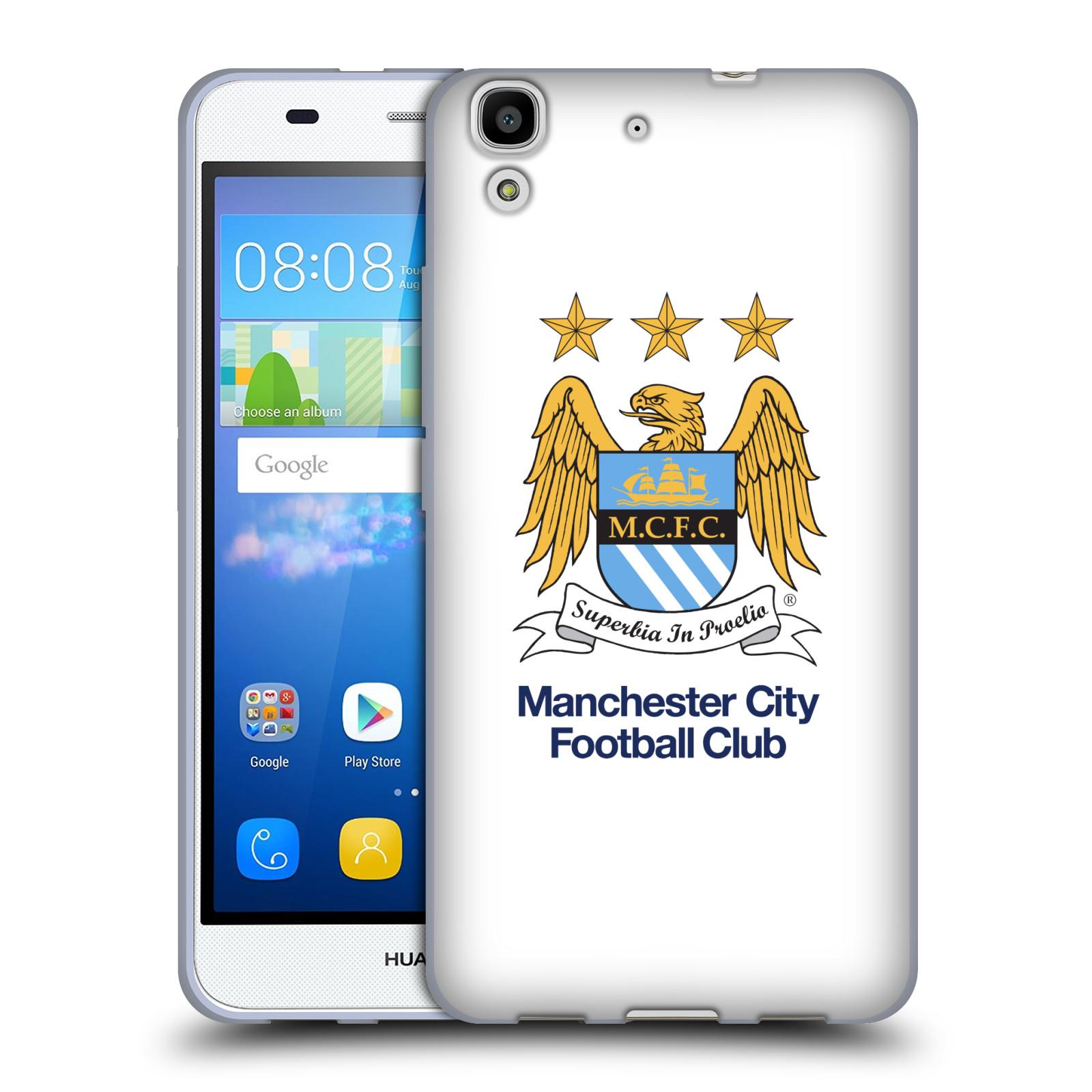 HEAD CASE silikonový obal na mobil Huawei Y6 Fotbalový klub Manchester City bílé pozadí velký znak pták