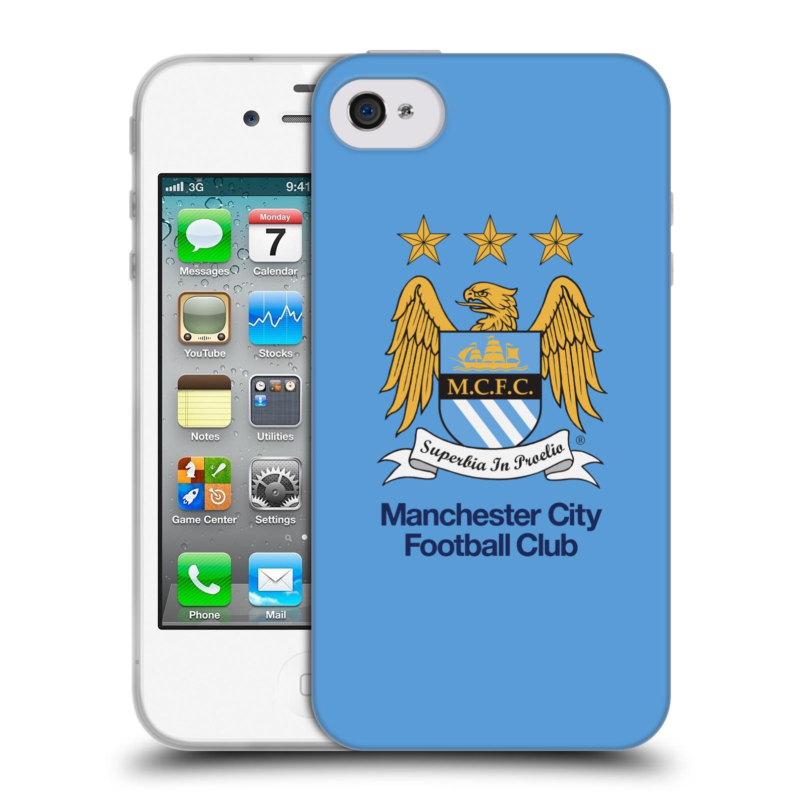 HEAD CASE silikonový obal na mobil Apple Iphone 4 Fotbalový klub Manchester City nebesky modrá pozadí velký znak pták