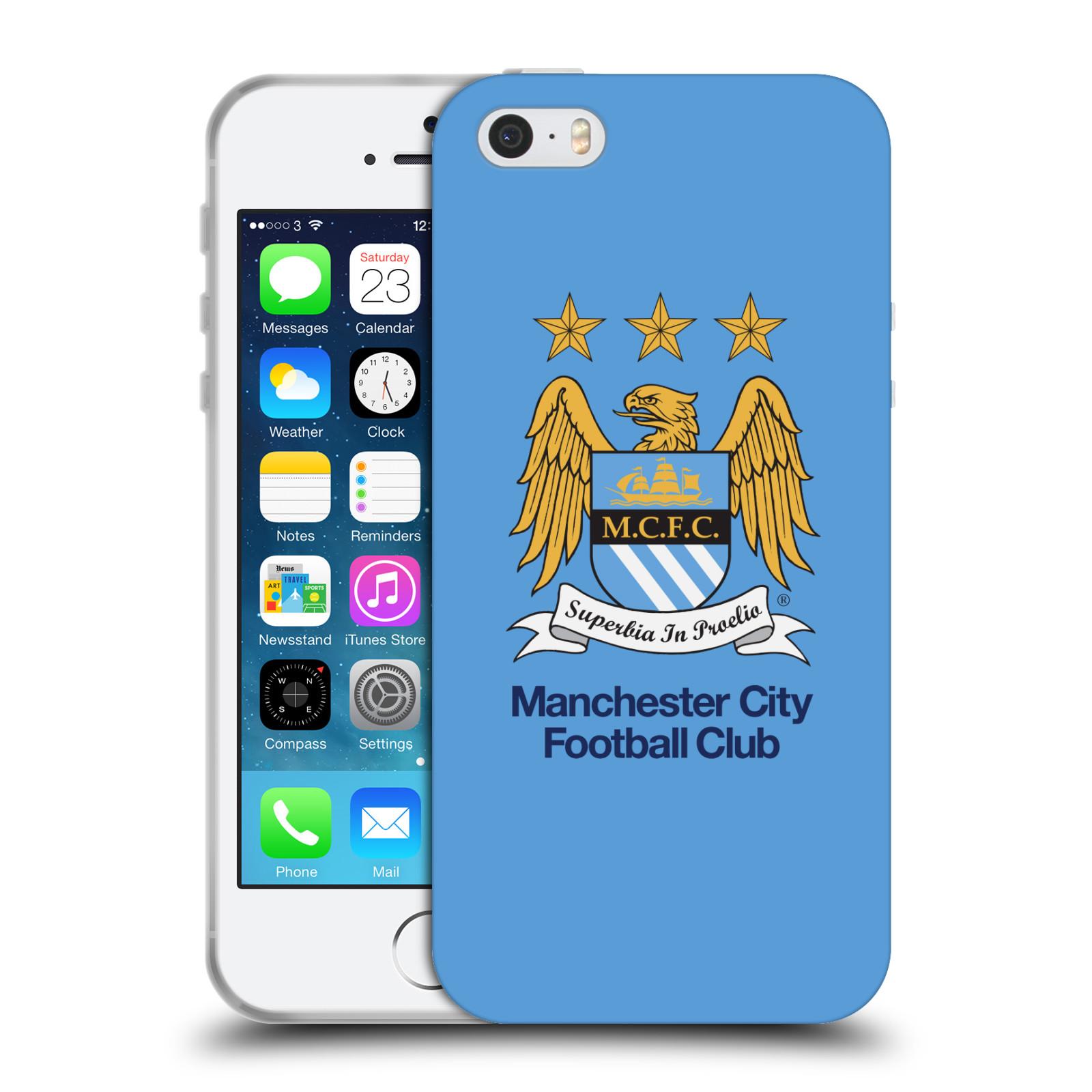 HEAD CASE silikonový obal na mobil Apple Iphone 5/5S Fotbalový klub Manchester City nebesky modrá pozadí velký znak pták
