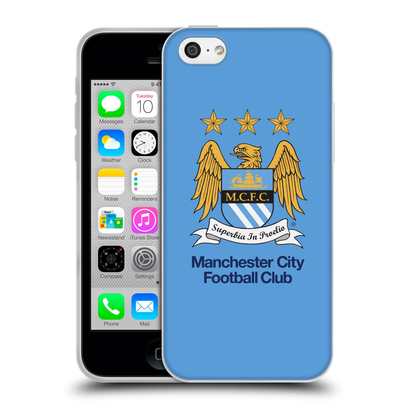 HEAD CASE silikonový obal na mobil Apple Iphone 5C Fotbalový klub Manchester City nebesky modrá pozadí velký znak pták