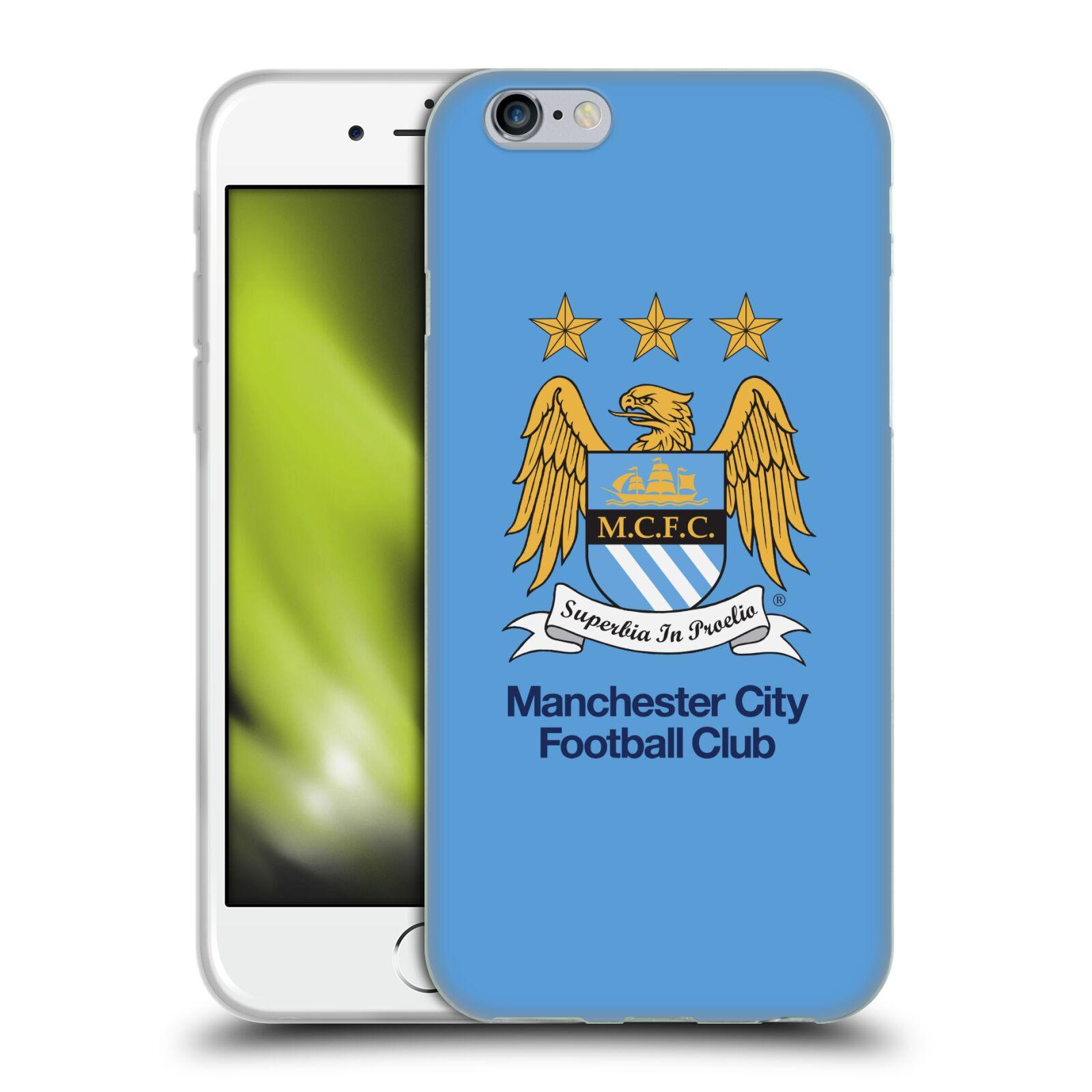 HEAD CASE silikonový obal na mobil Apple Iphone 6/6S Fotbalový klub Manchester City nebesky modrá pozadí velký znak pták