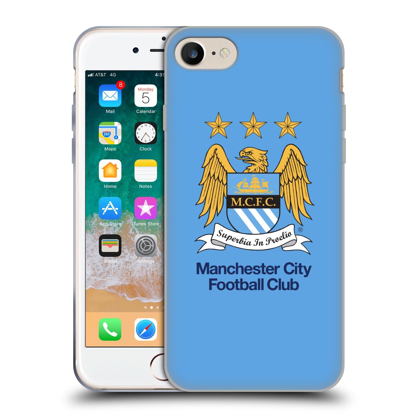 HEAD CASE silikonový obal na mobil Apple Iphone 7 Fotbalový klub Manchester City nebesky modrá pozadí velký znak pták