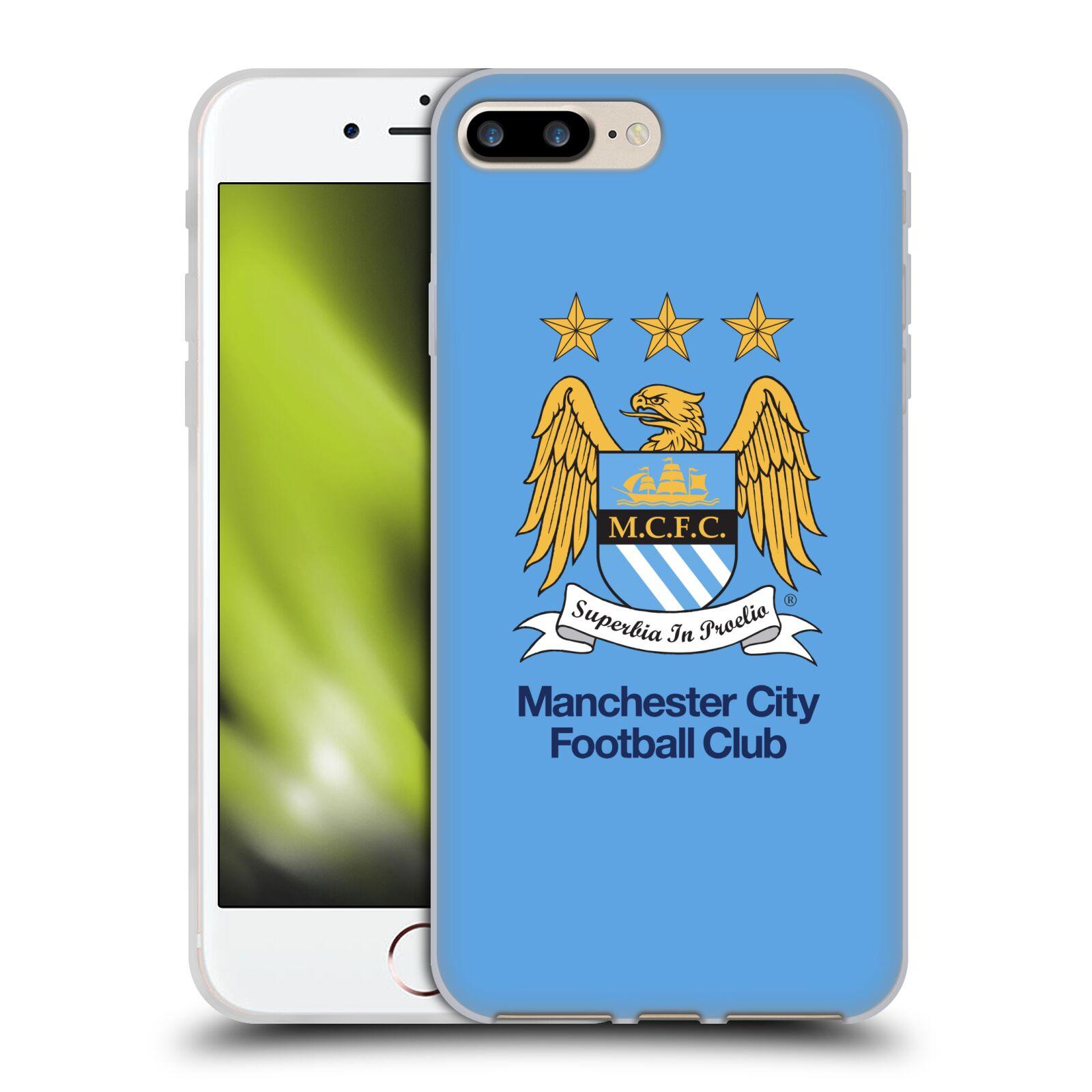 HEAD CASE silikonový obal na mobil Apple Iphone 7 PLUS Fotbalový klub Manchester City nebesky modrá pozadí velký znak pták