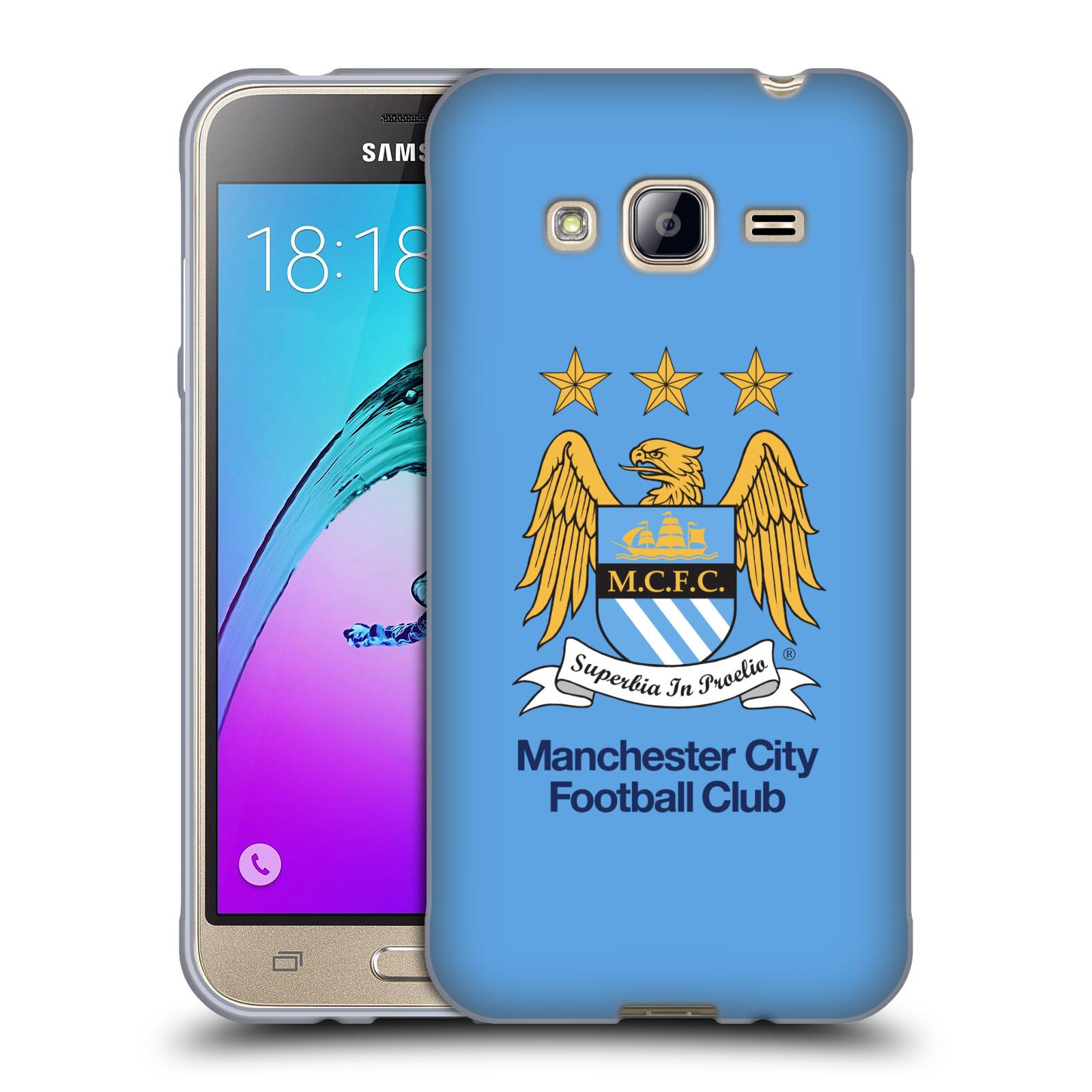HEAD CASE silikonový obal na mobil Samsung Galaxy J3, J3 2016 Fotbalový klub Manchester City nebesky modrá pozadí velký znak pták
