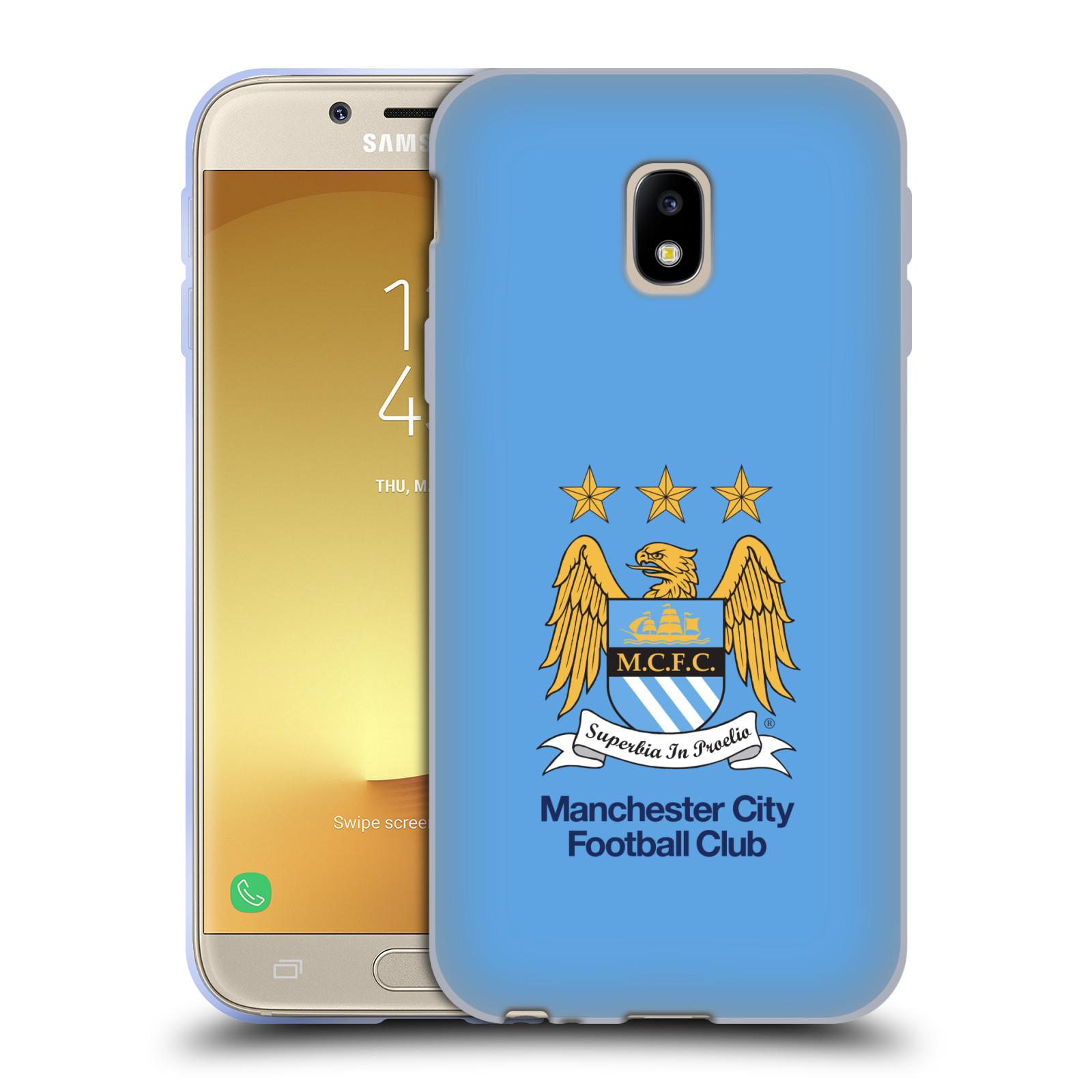 HEAD CASE silikonový obal na mobil Samsung Galaxy J3 2017 (J330, J330F) Fotbalový klub Manchester City nebesky modrá pozadí velký znak pták