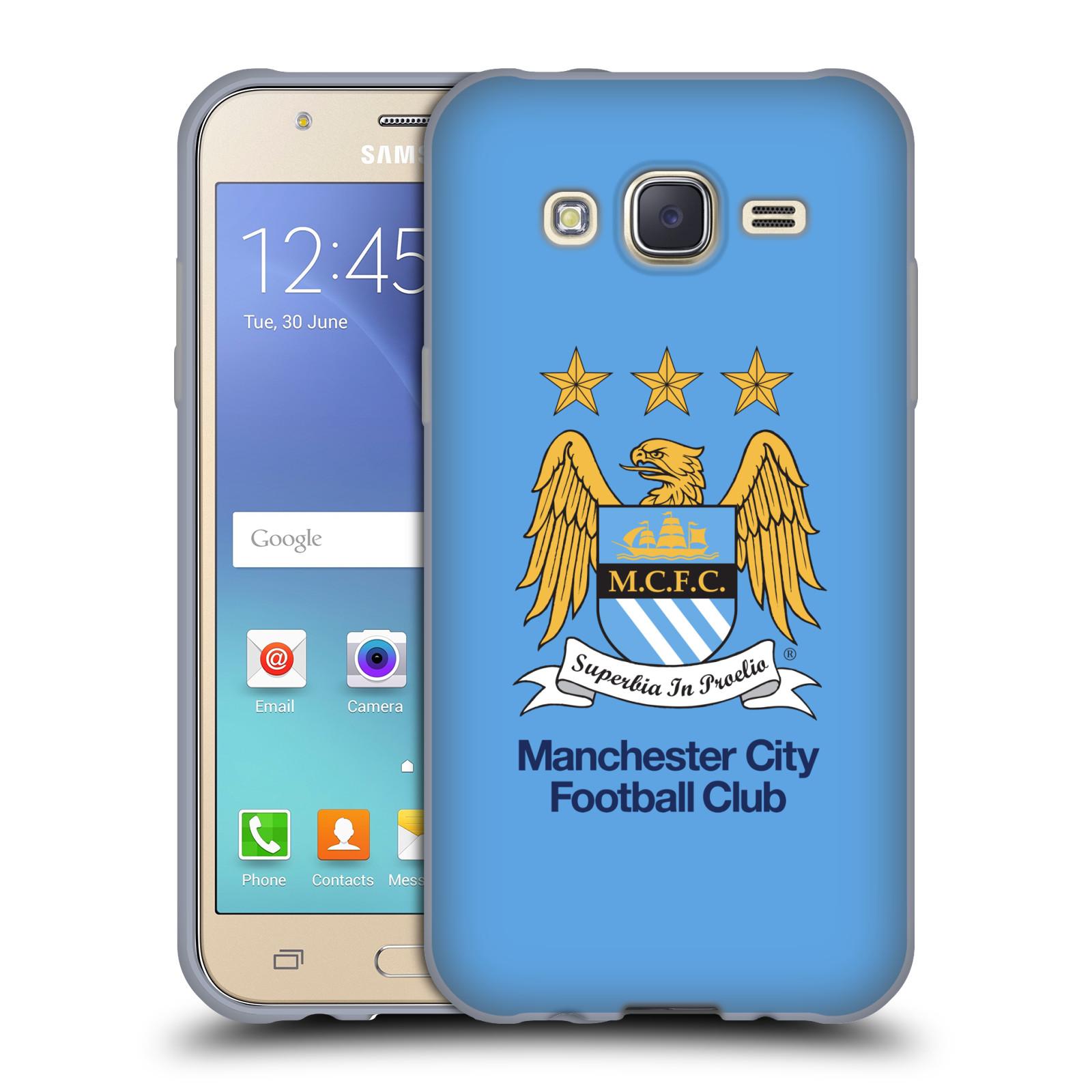 HEAD CASE silikonový obal na mobil Samsung Galaxy J5 2015 (J500) Fotbalový klub Manchester City nebesky modrá pozadí velký znak pták