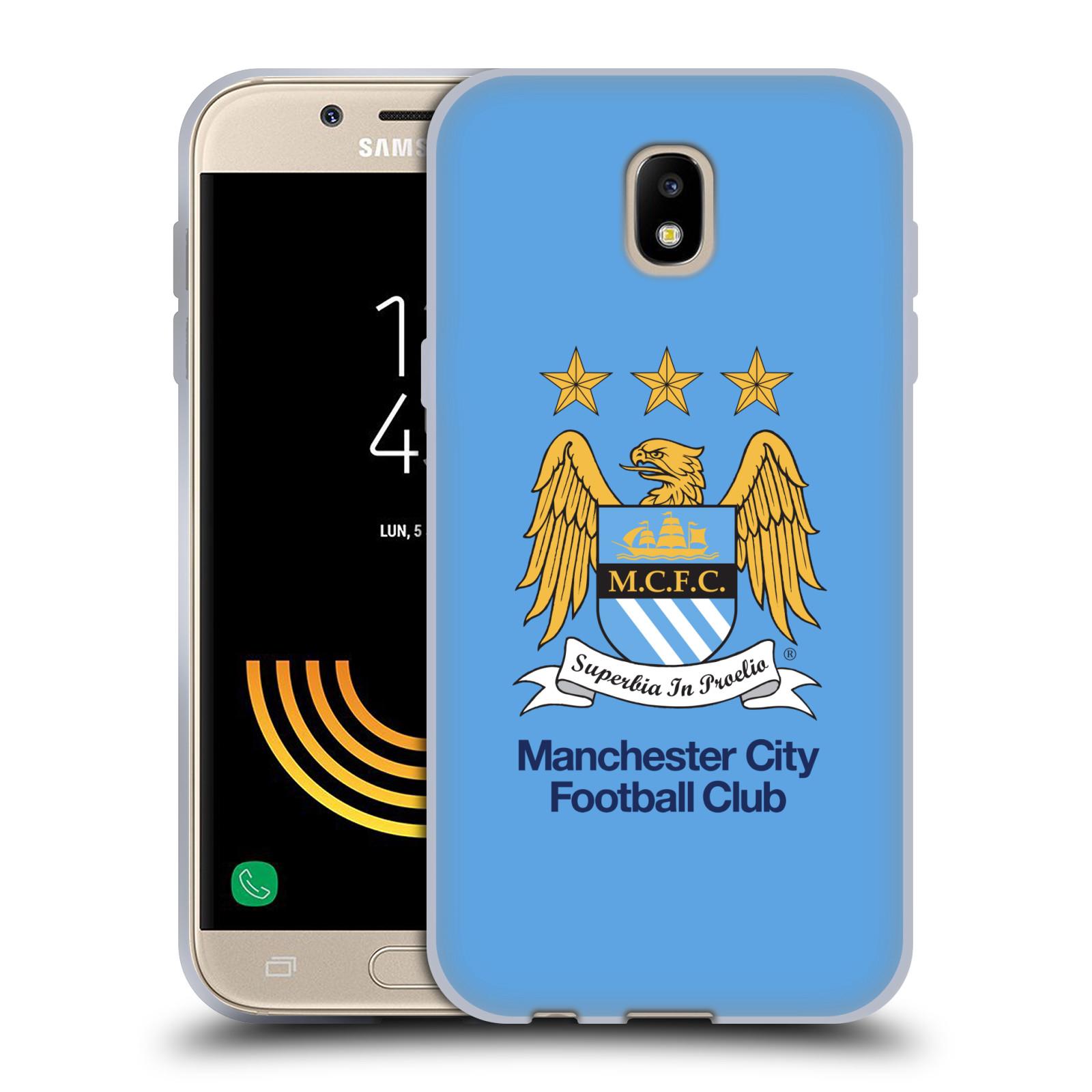 HEAD CASE silikonový obal na mobil Samsung Galaxy J5 2017 Fotbalový klub Manchester City nebesky modrá pozadí velký znak pták