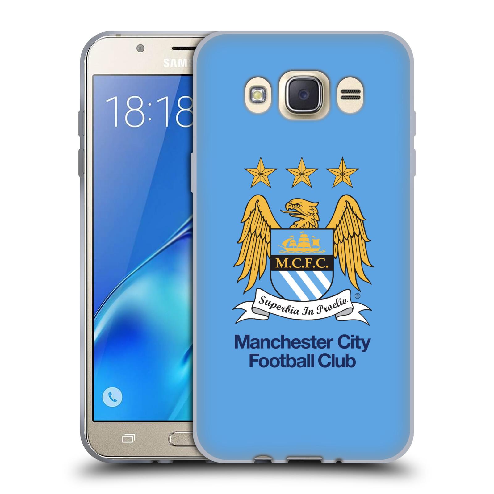 HEAD CASE silikonový obal na mobil Samsung Galaxy J7 2016 Fotbalový klub Manchester City nebesky modrá pozadí velký znak pták