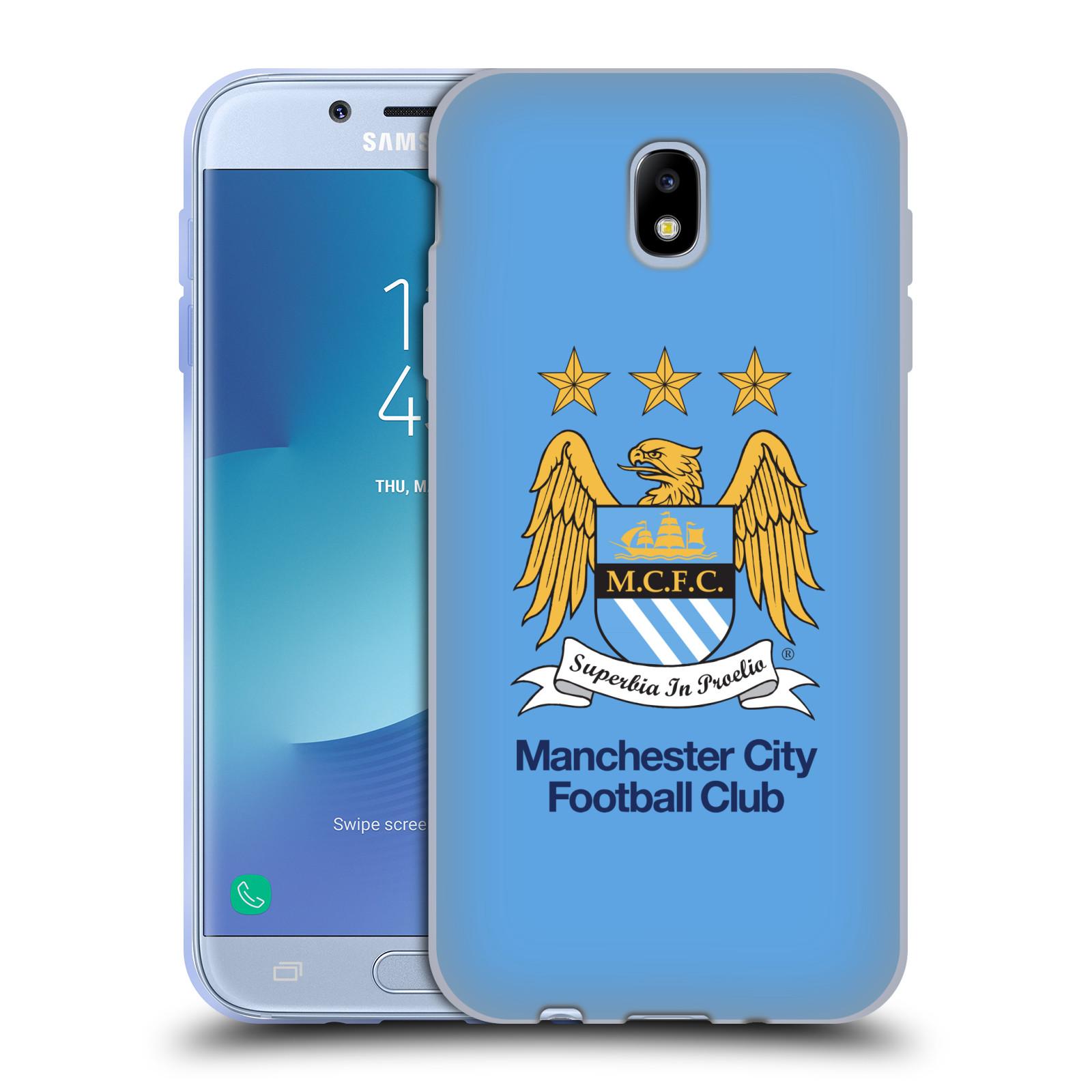 HEAD CASE silikonový obal na mobil Samsung Galaxy J7 2017 Fotbalový klub Manchester City nebesky modrá pozadí velký znak pták
