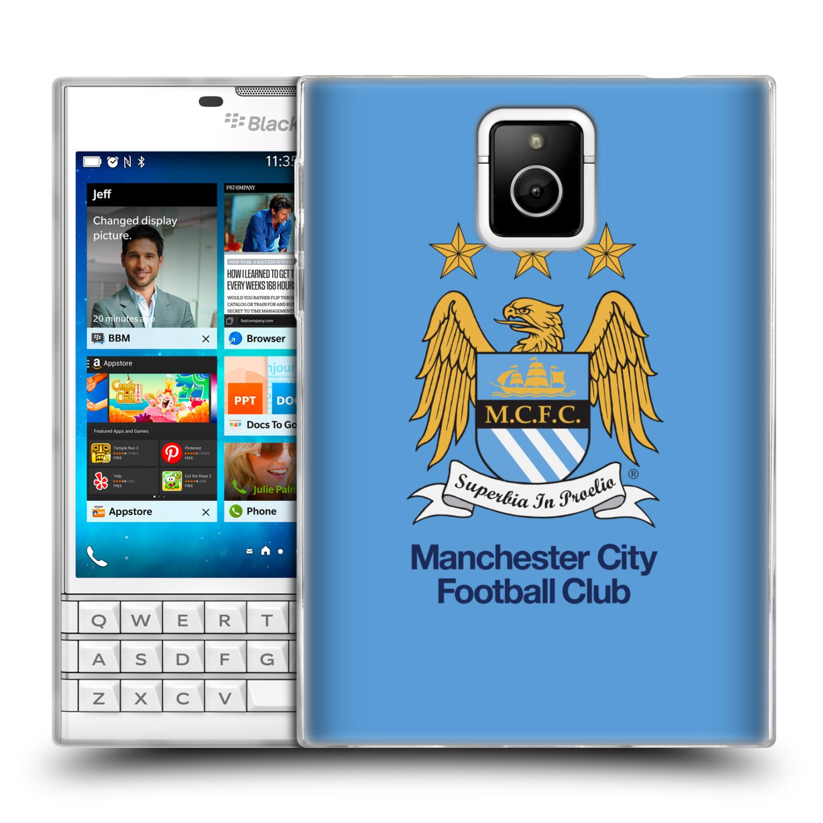 HEAD CASE silikonový obal na mobil Blackberry PASSPORT Fotbalový klub Manchester City nebesky modrá pozadí velký znak pták
