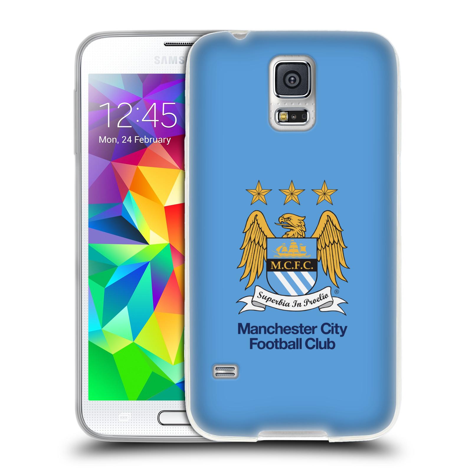 HEAD CASE silikonový obal na mobil Samsung Galaxy S5 Fotbalový klub Manchester City nebesky modrá pozadí velký znak pták