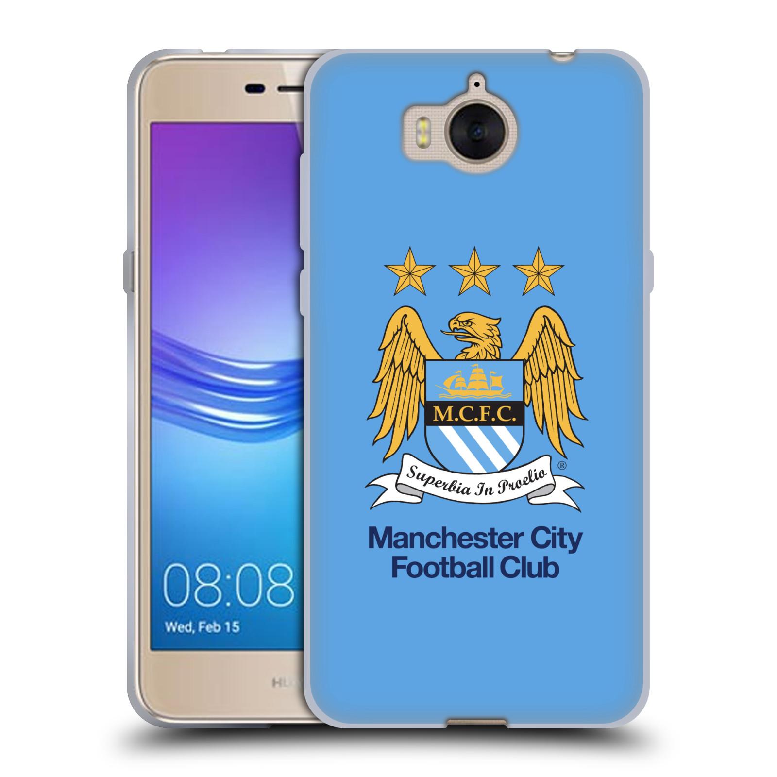 HEAD CASE silikonový obal na mobil Huawei Y5 2017 Fotbalový klub Manchester City nebesky modrá pozadí velký znak pták
