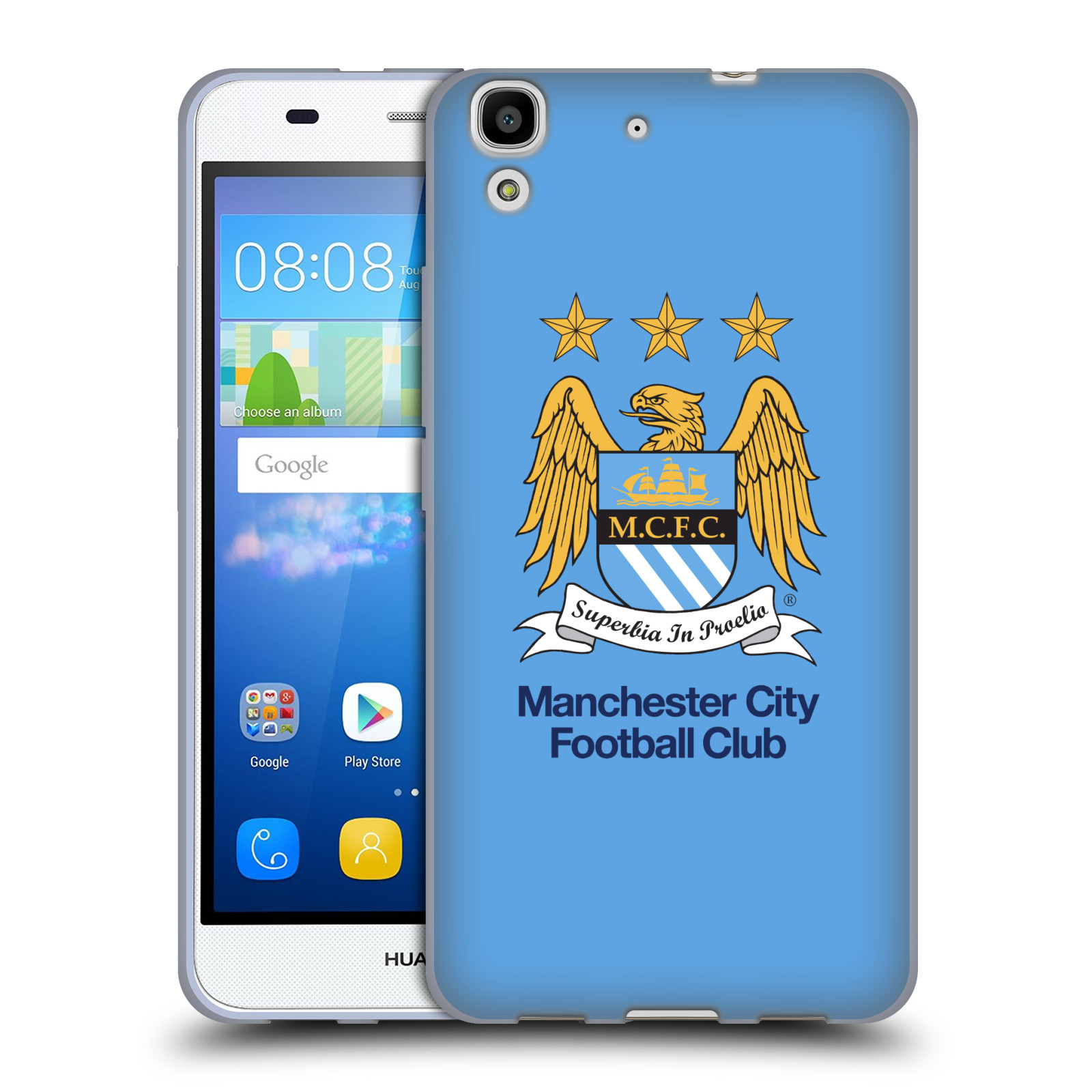 HEAD CASE silikonový obal na mobil Huawei Y6 Fotbalový klub Manchester City nebesky modrá pozadí velký znak pták