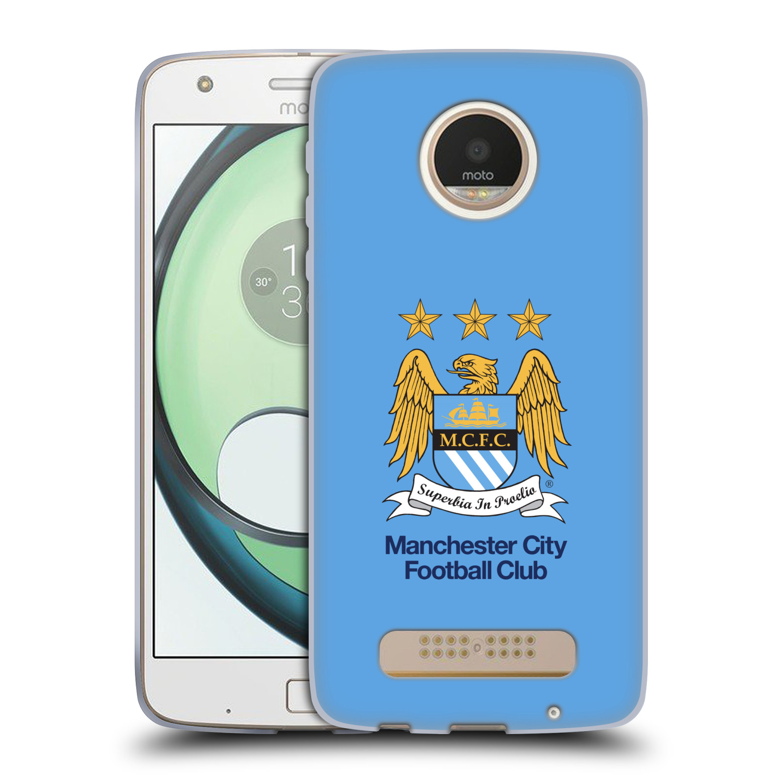 HEAD CASE silikonový obal na mobil Lenovo Moto Z PLAY Fotbalový klub Manchester City nebesky modrá pozadí velký znak pták