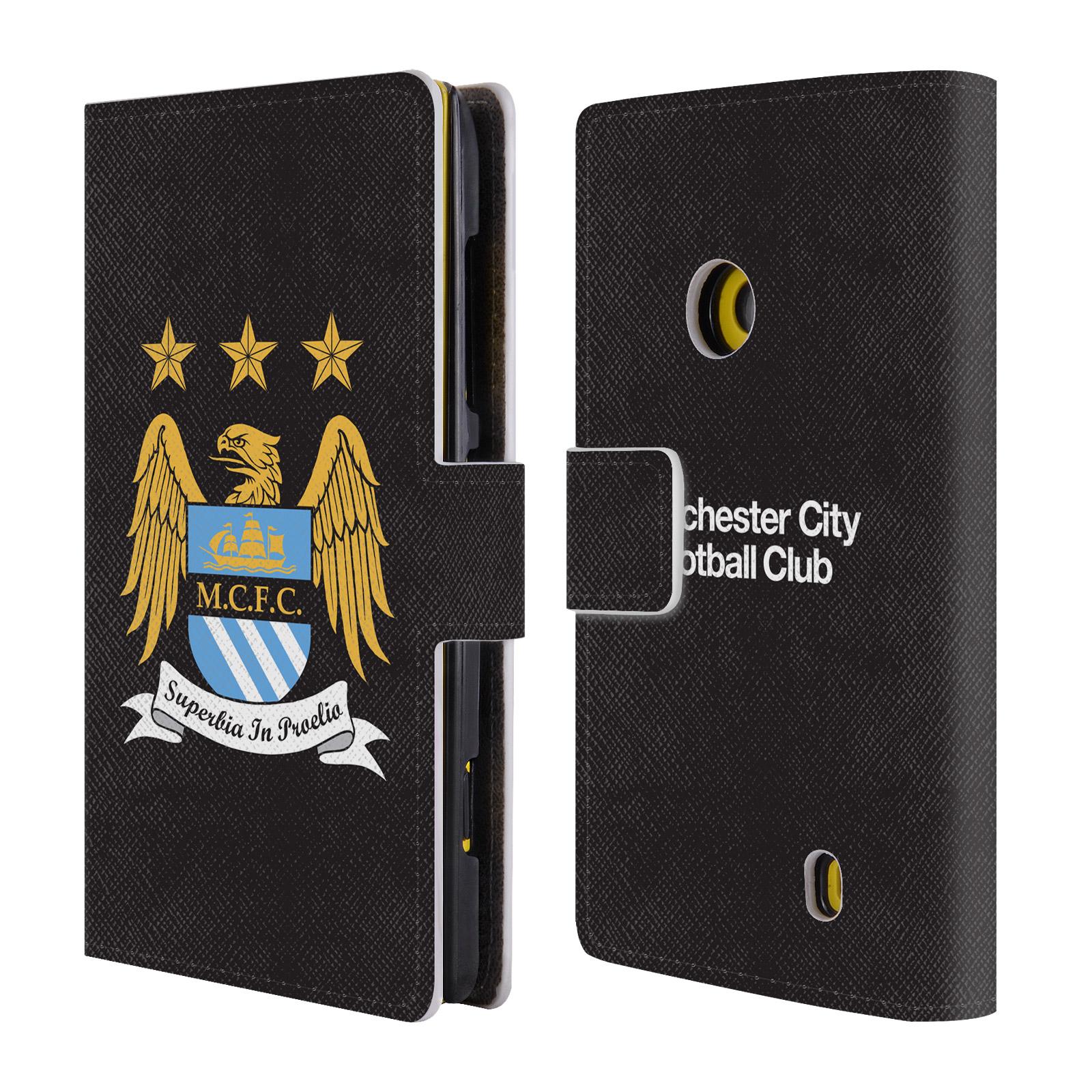 HEAD CASE Flipové pouzdro pro mobil Nokia Lumia 520 (525) Oficiální Manchester City znak a černé pozadí