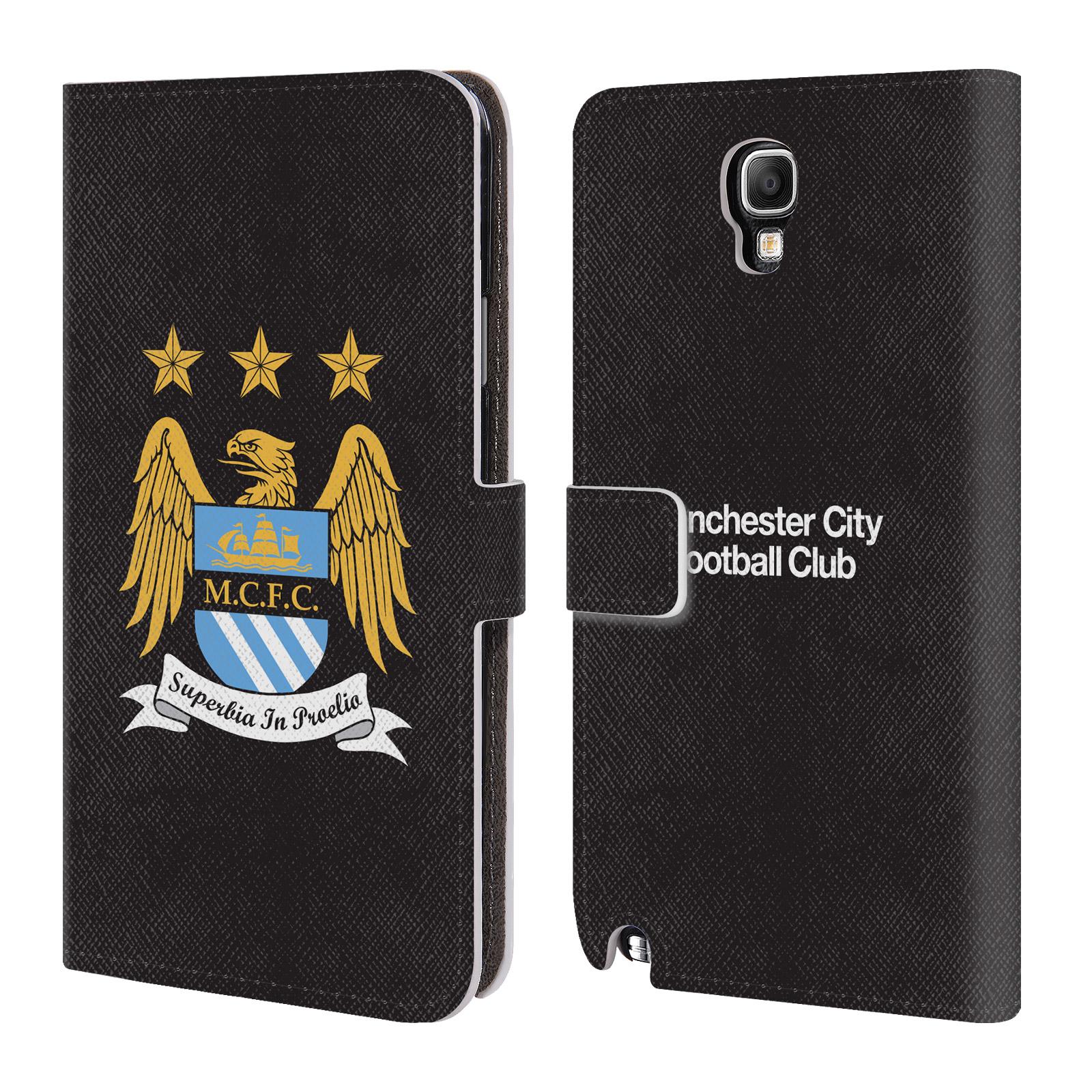 HEAD CASE Flipové pouzdro pro mobil Samsung Galaxy Note 3 NEO (N7505) Oficiální Manchester City znak a černé pozadí