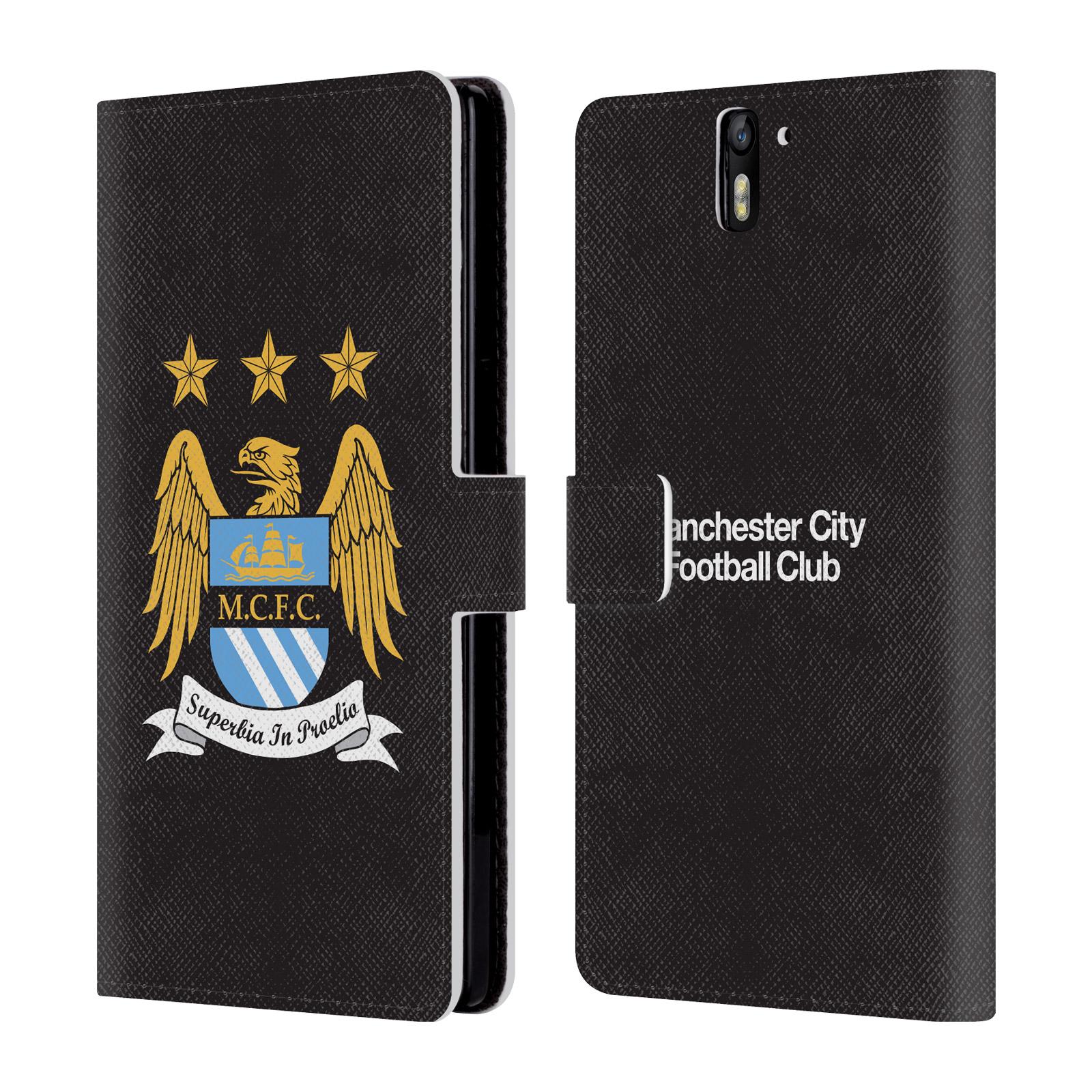 HEAD CASE Flipové pouzdro pro mobil OnePlus ONE Oficiální Manchester City znak a černé pozadí
