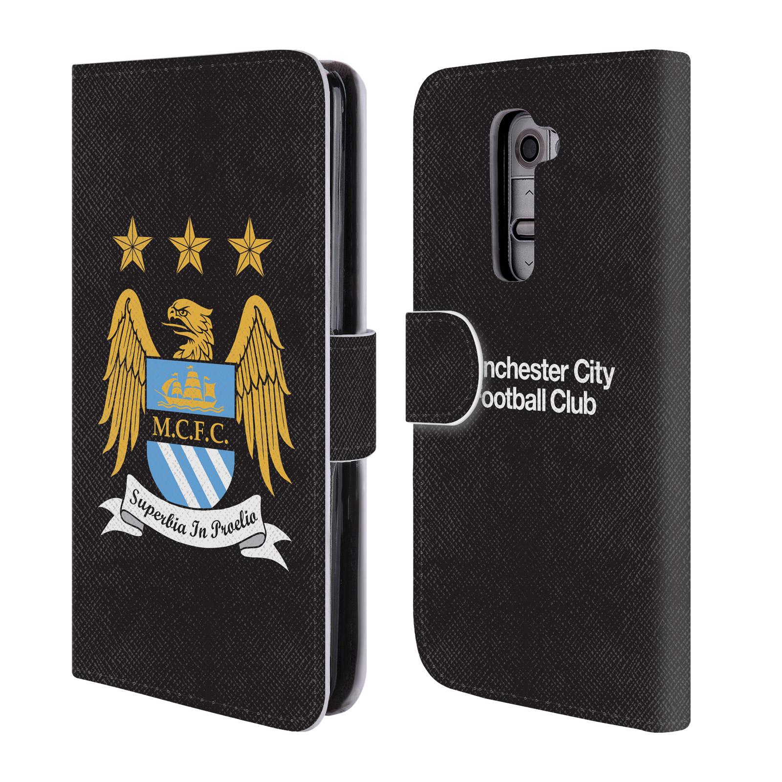 HEAD CASE Flipové pouzdro pro mobil LG G2 (D802) Oficiální Manchester City znak a černé pozadí